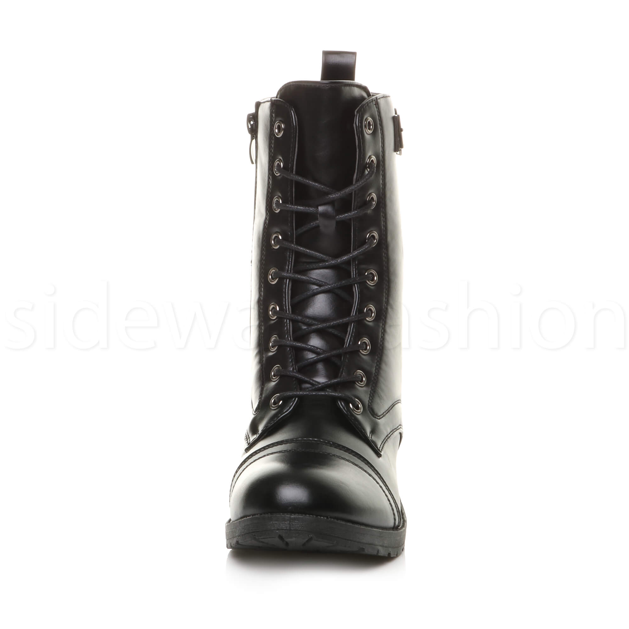 Womens-ladies-low-heel-flat-lace-up-zip-combat-biker-military-ankle-boots-size thumbnail 15