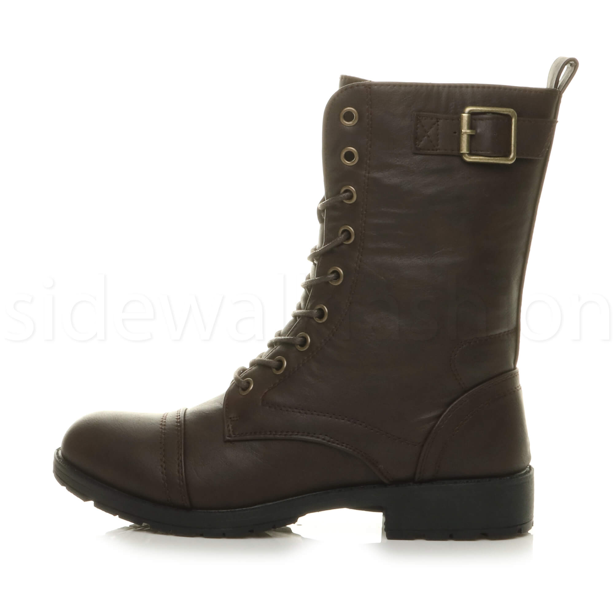 Womens-ladies-low-heel-flat-lace-up-zip-combat-biker-military-ankle-boots-size thumbnail 43