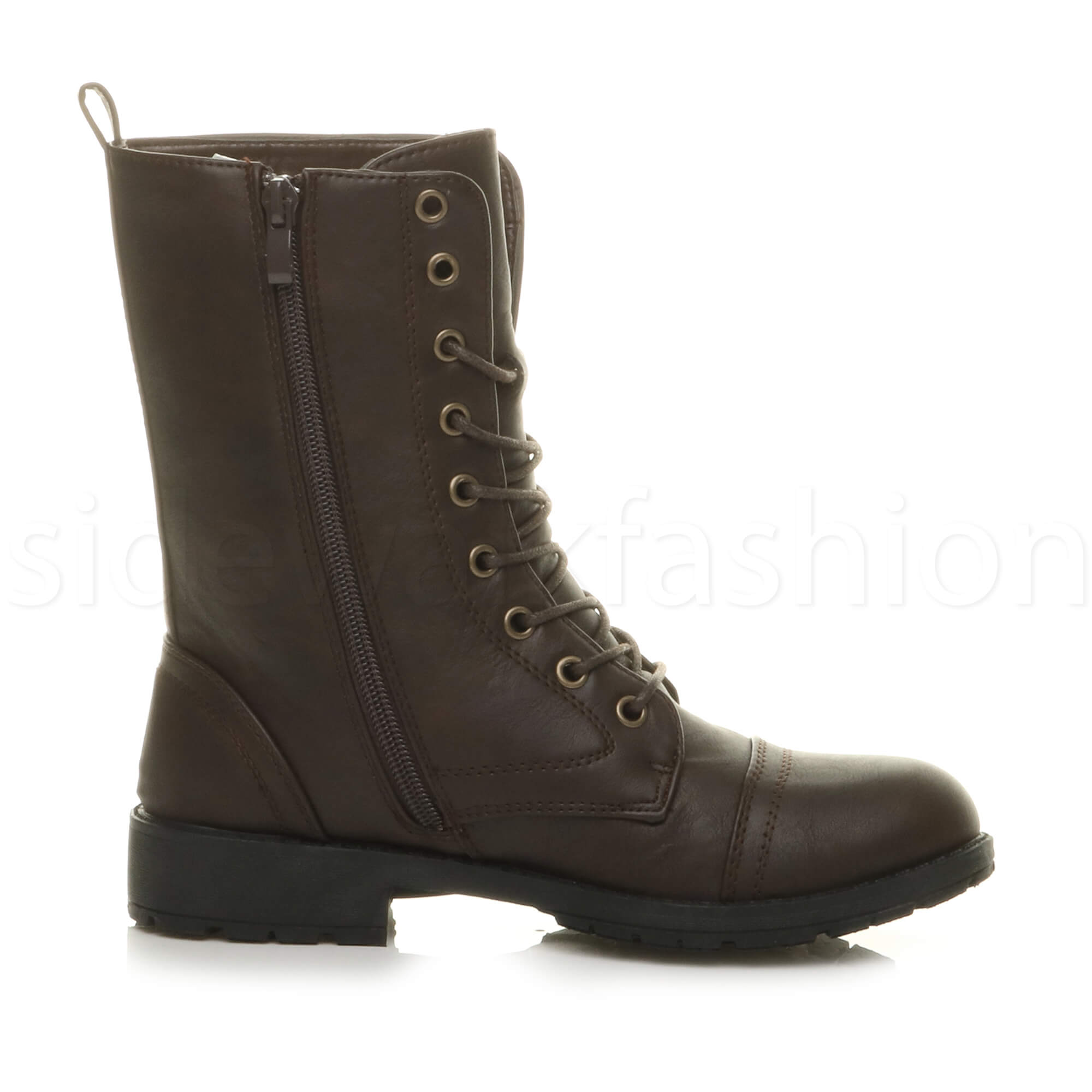 Womens-ladies-low-heel-flat-lace-up-zip-combat-biker-military-ankle-boots-size thumbnail 44