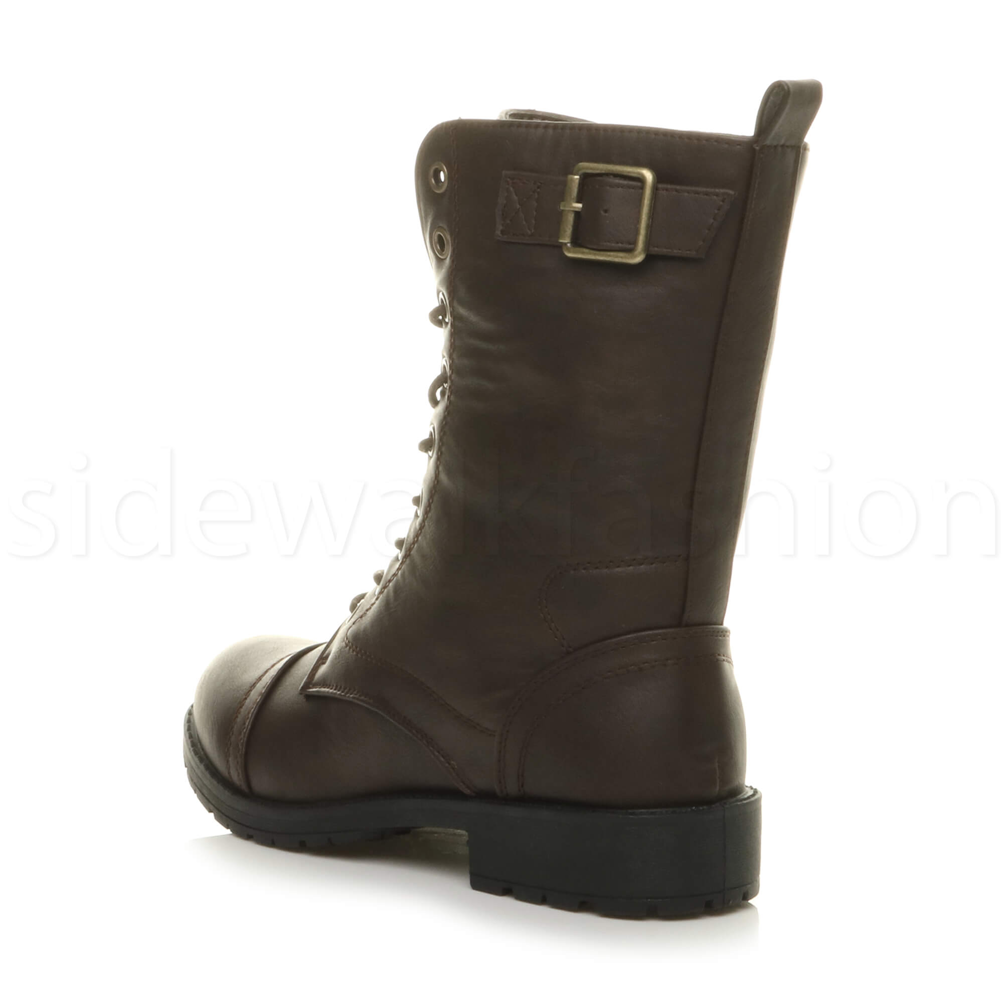 Womens-ladies-low-heel-flat-lace-up-zip-combat-biker-military-ankle-boots-size thumbnail 45