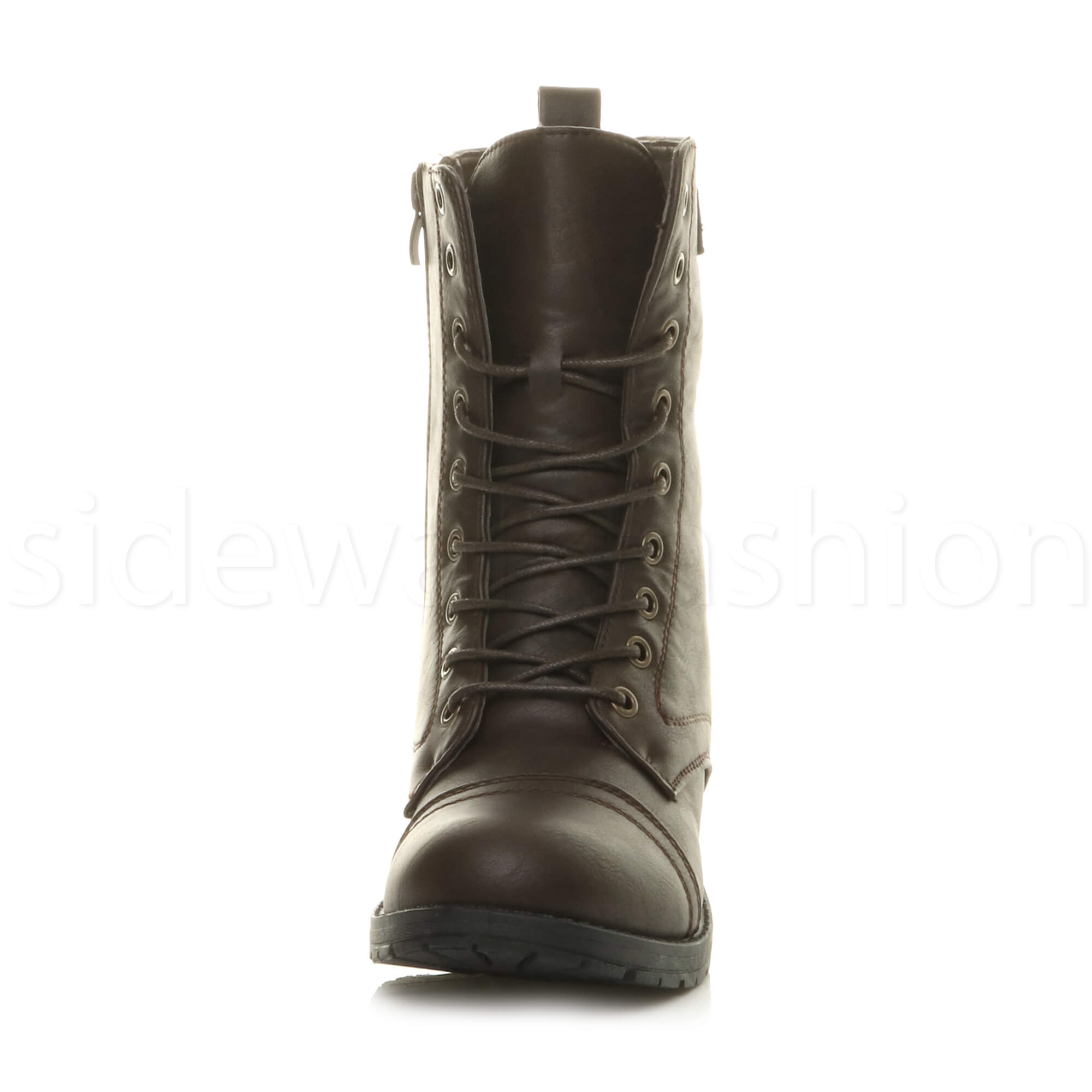 Womens-ladies-low-heel-flat-lace-up-zip-combat-biker-military-ankle-boots-size thumbnail 47