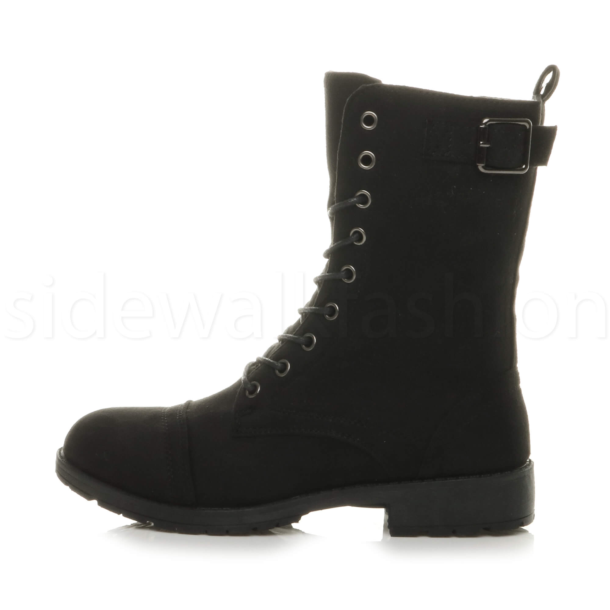 Womens-ladies-low-heel-flat-lace-up-zip-combat-biker-military-ankle-boots-size thumbnail 27