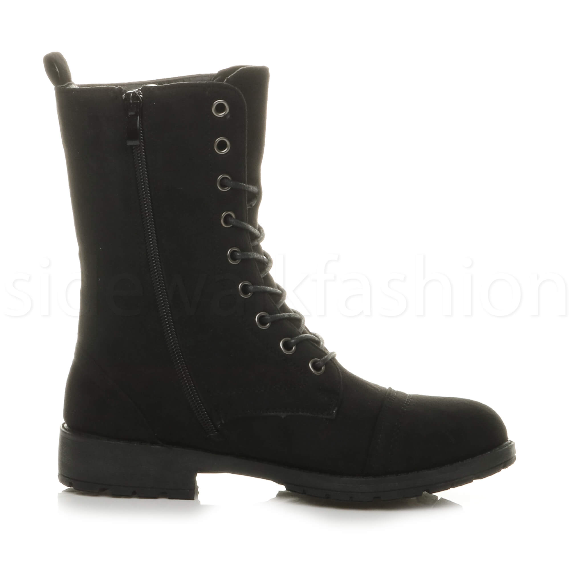 Womens-ladies-low-heel-flat-lace-up-zip-combat-biker-military-ankle-boots-size thumbnail 28