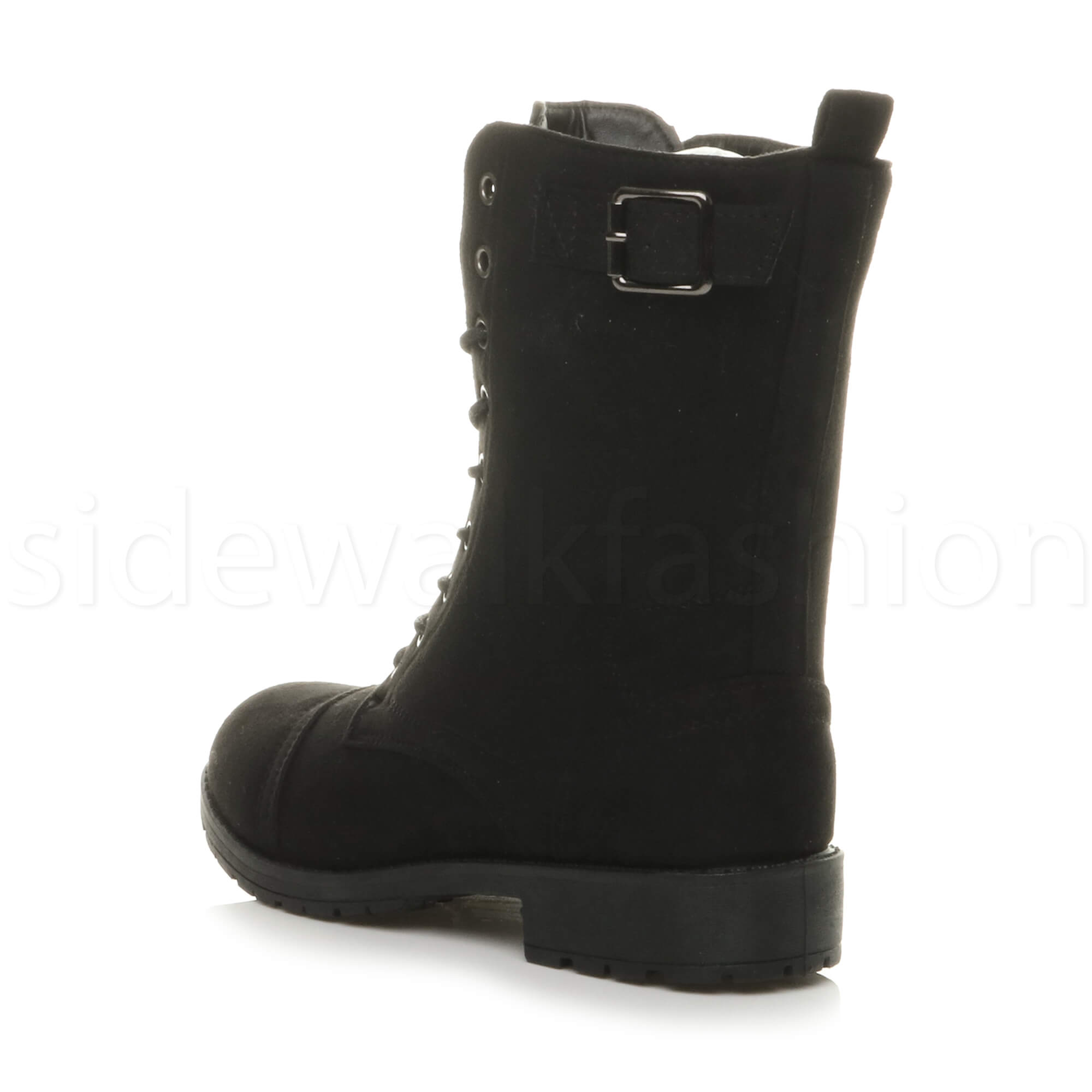 Womens-ladies-low-heel-flat-lace-up-zip-combat-biker-military-ankle-boots-size thumbnail 29