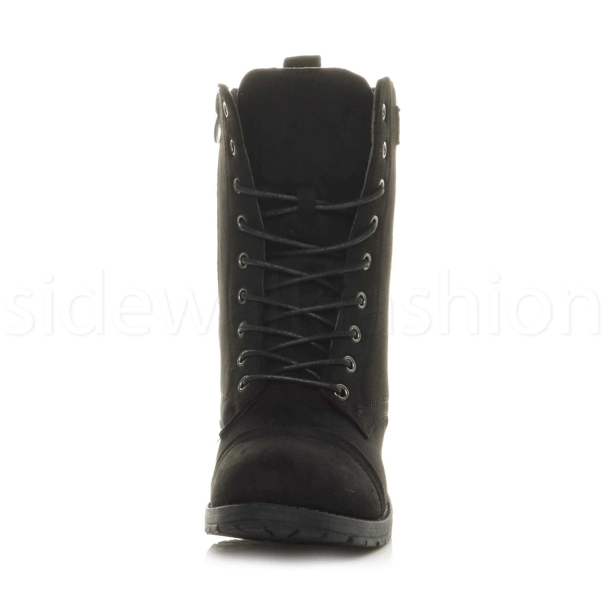 Womens-ladies-low-heel-flat-lace-up-zip-combat-biker-military-ankle-boots-size thumbnail 31
