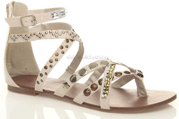 8184c8a4e709 Womens ladies flat gladiator studded toe post strappy tribal sandals ...