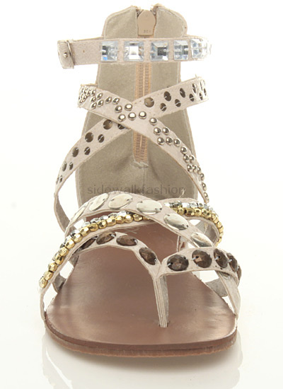 0d7039d11 Womens ladies flat gladiator studded toe post strappy tribal sandals ...
