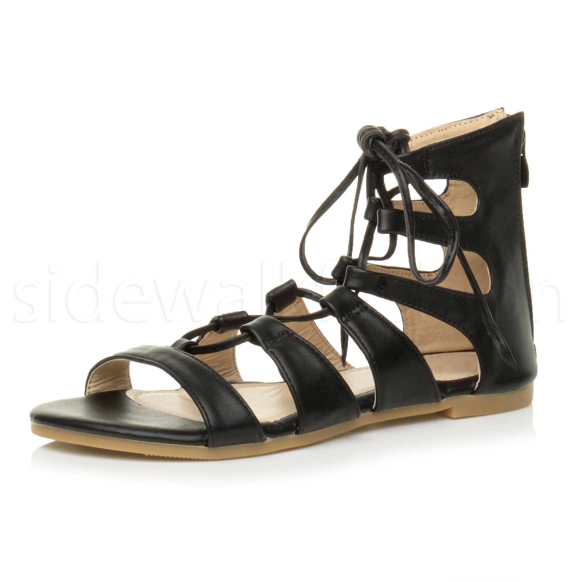 Womens Shoes Strappy Black Sandals