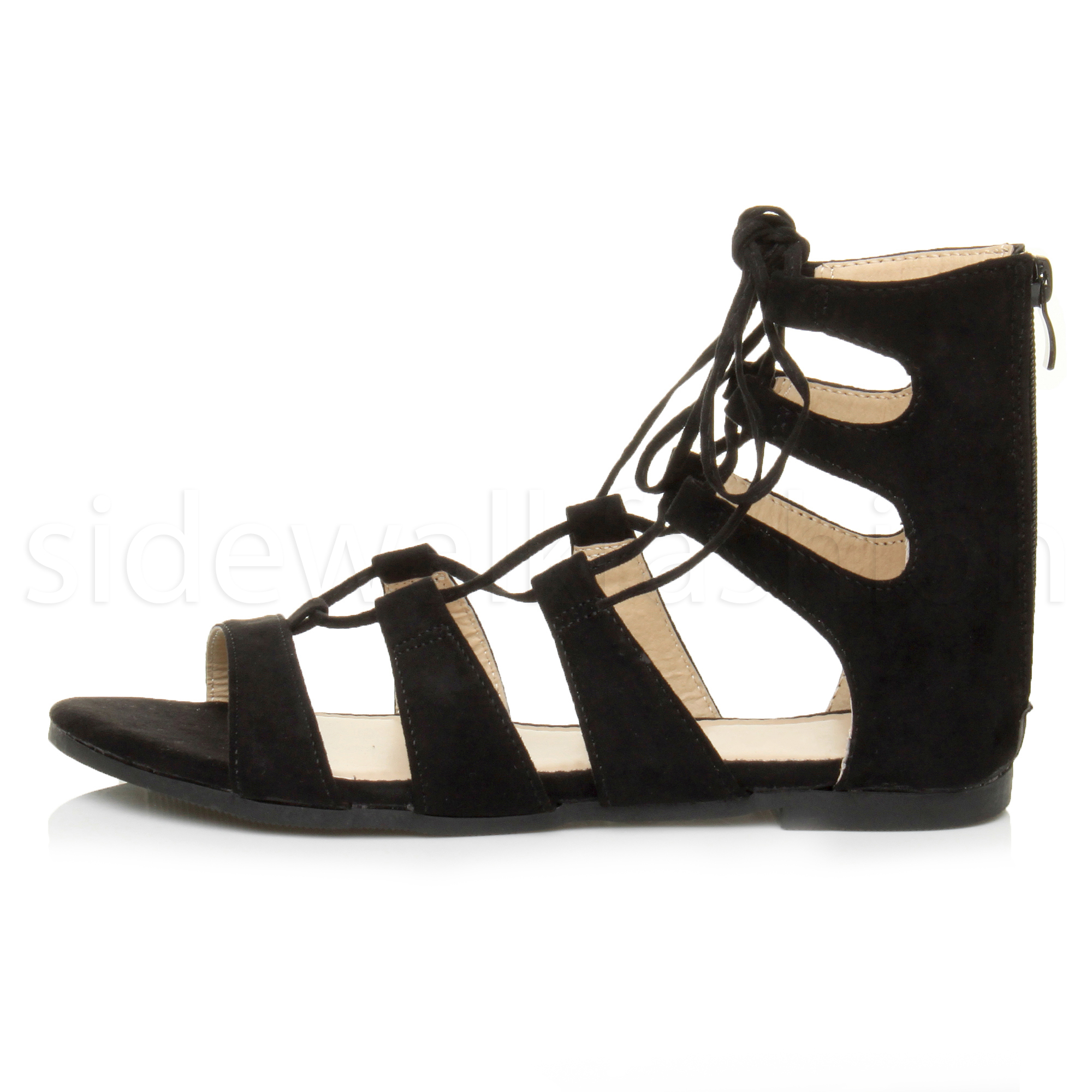 Womens ladies flat lace up strappy ankle tie gladiator ...