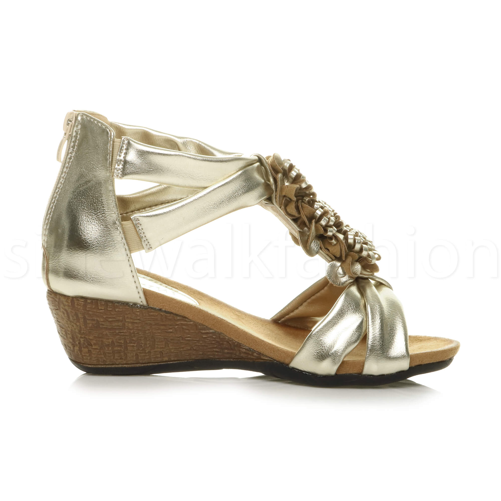 Details about Womens ladies mid wedge heel strappy flower ruffle t bar summer sandals size