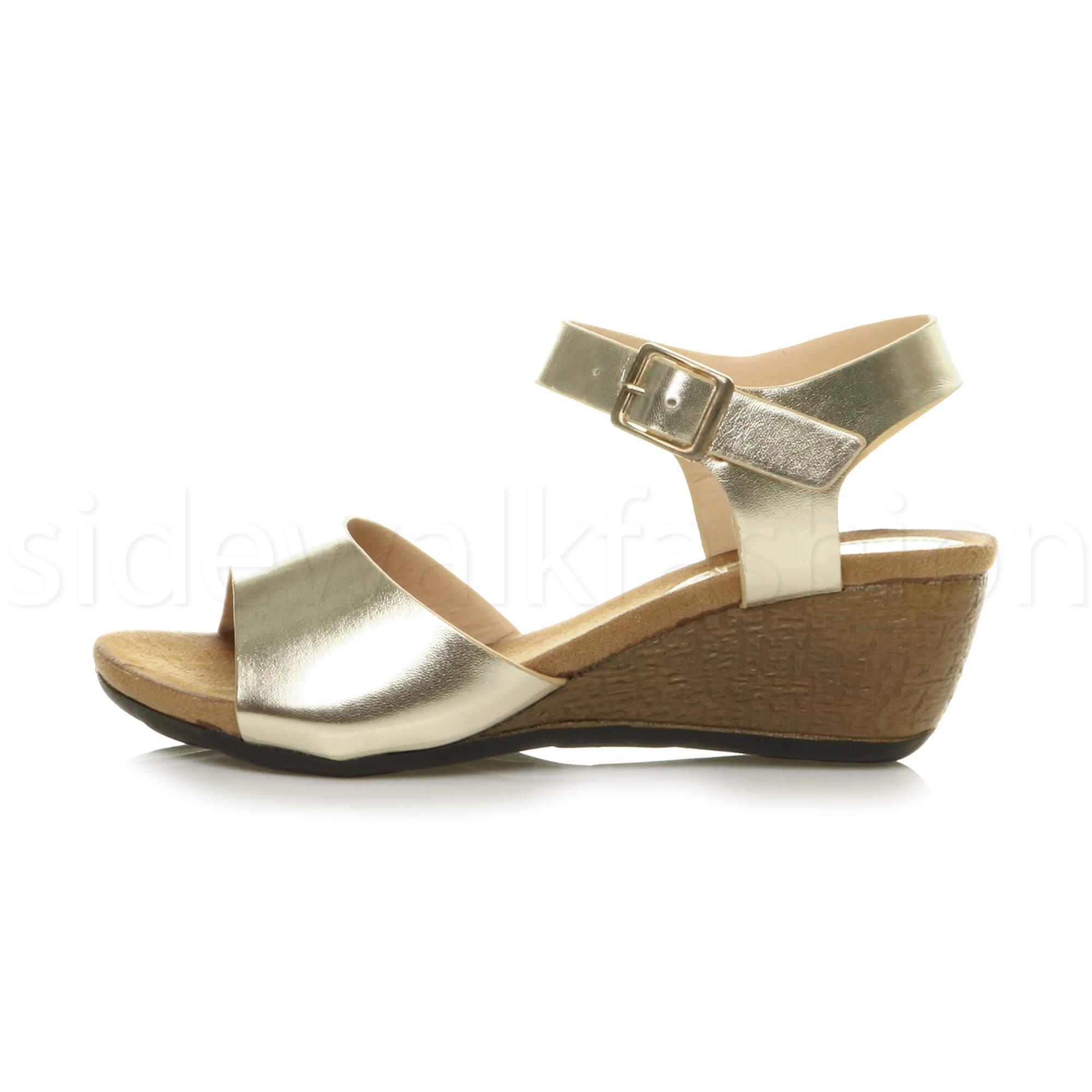 Womens ladies mid heel comfortable footbed wedge summer ...