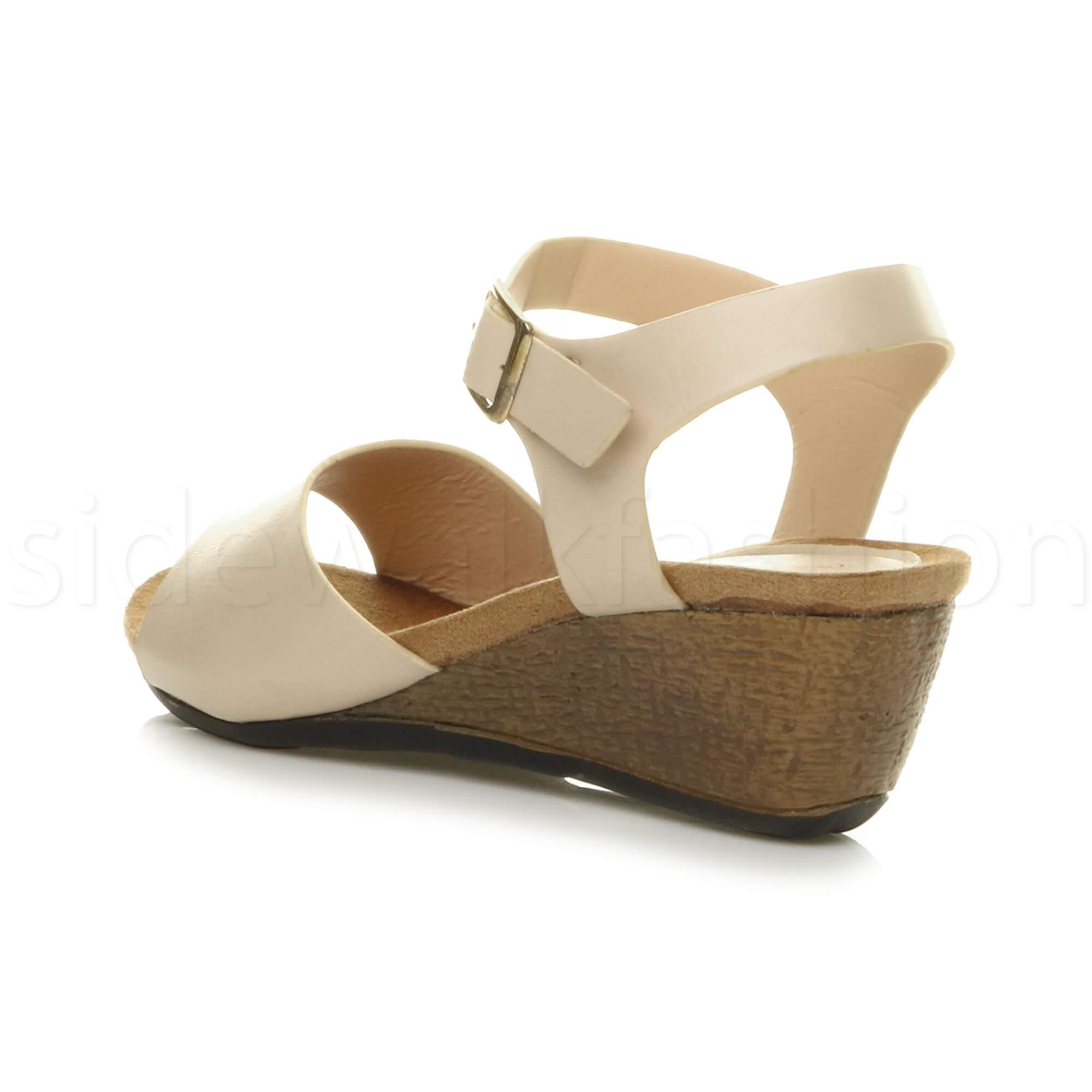 0029c0b4aa3f Womens ladies mid heel comfortable footbed wedge summer strap shoes ...