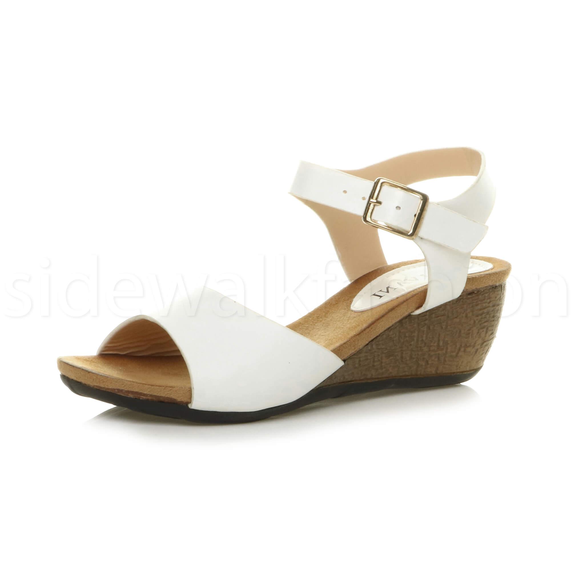 White platform mid heel sandals summer walking shoes new size 8 unworn