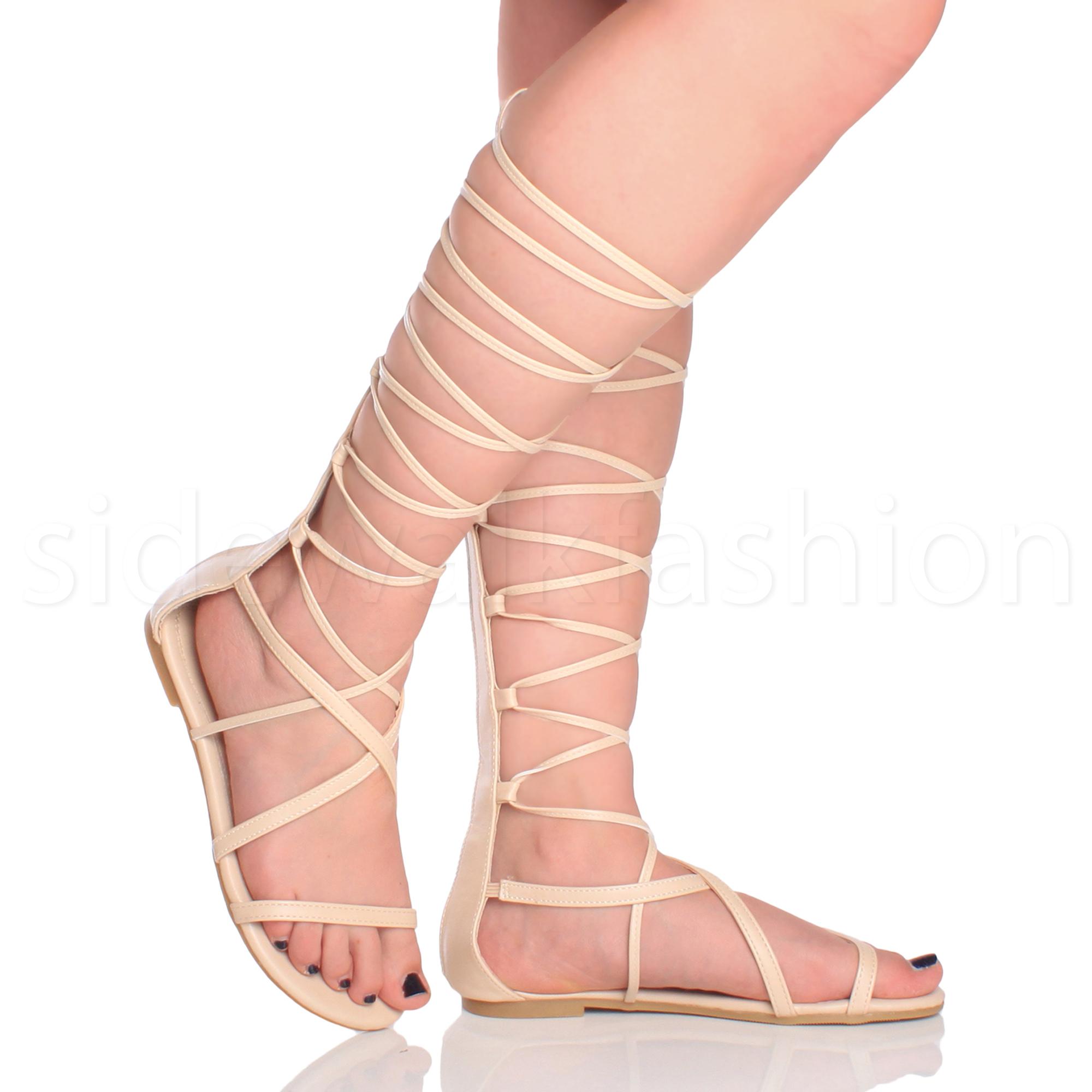 Para-Mujer-Damas-Tie-Up-Con-Cordones-Plana-Con-Tiras-Sandalias-hasta-la-Rodilla-Envoltura-Alrededor