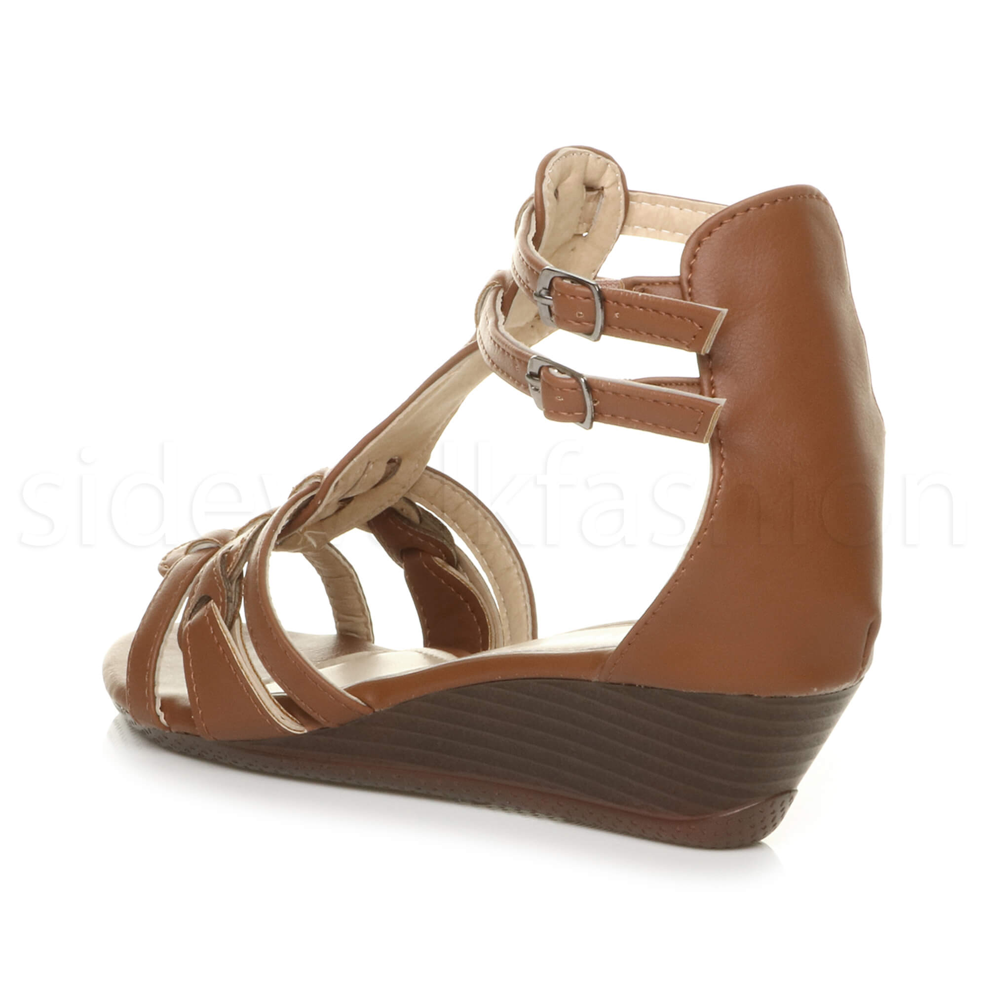 Womens Ladies Low Mid Heel Wedge Strappy Summer Gladiator