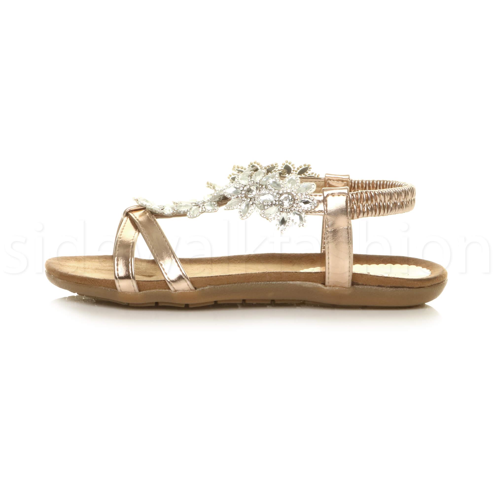 3ada84e69789 Womens ladies flat wedge flower t-bar gem diamante summer comfort ...