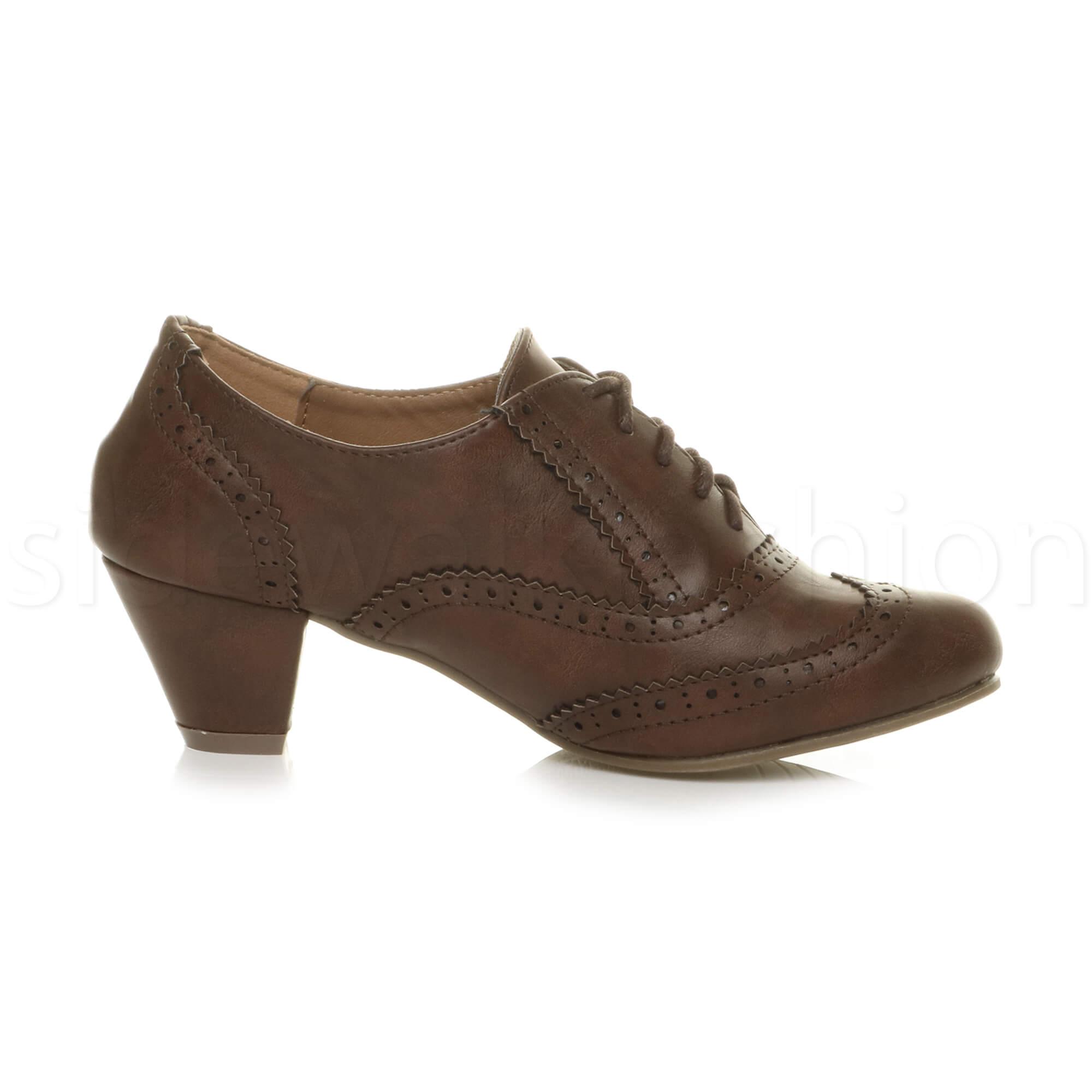 Brown Mid Heel Shoes Womens