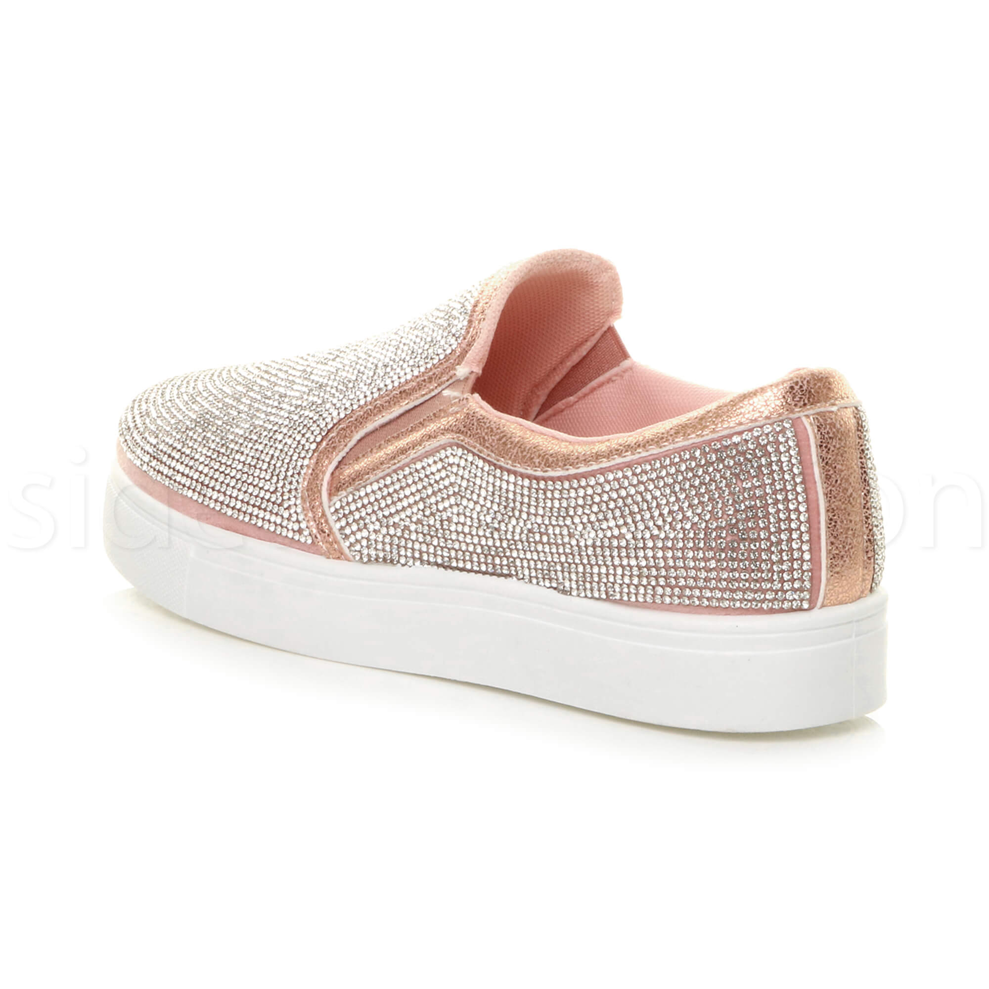 Details zu Womens ladies flat glitter sparkly slip on casual plimsoles trainers shoes size