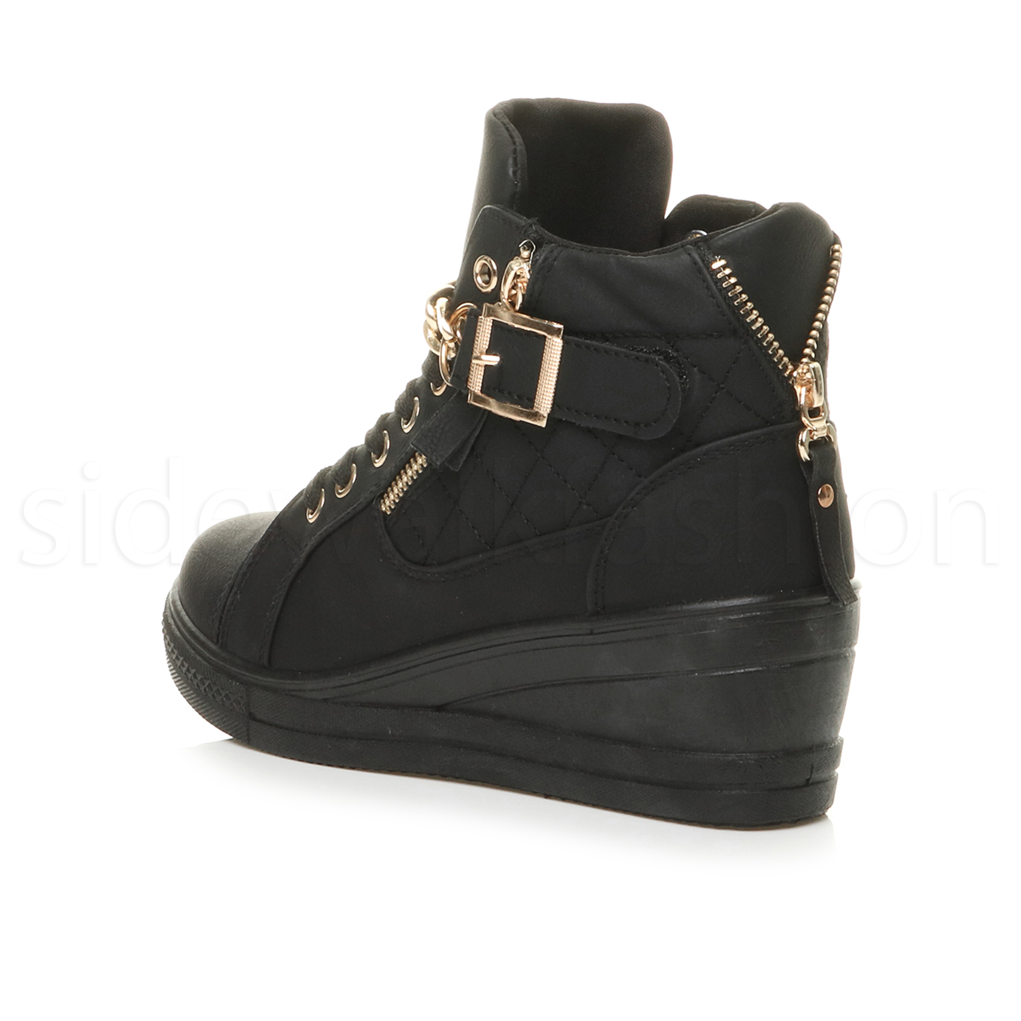 895a1e151a9 Womens ladies mid wedge heel gold chain platform hi-top trainers ...