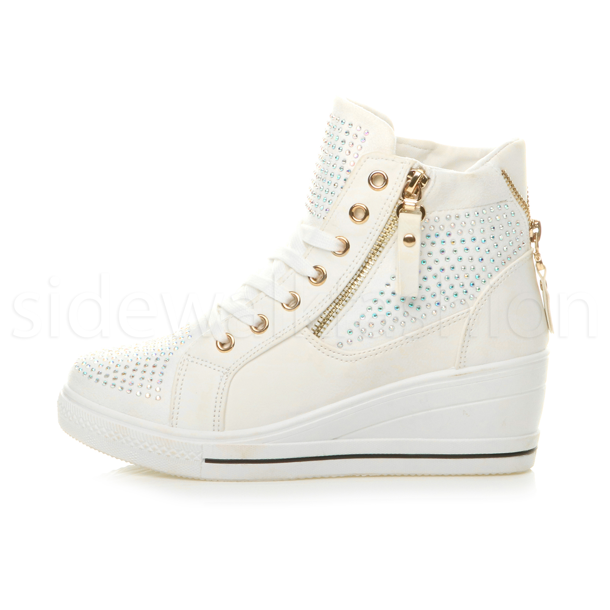 Femme Talon Moyen Compensᄄᆭ Baskets compensᄄᆭes sneakers High Top Hi Bottines-afficher le titre d'origine