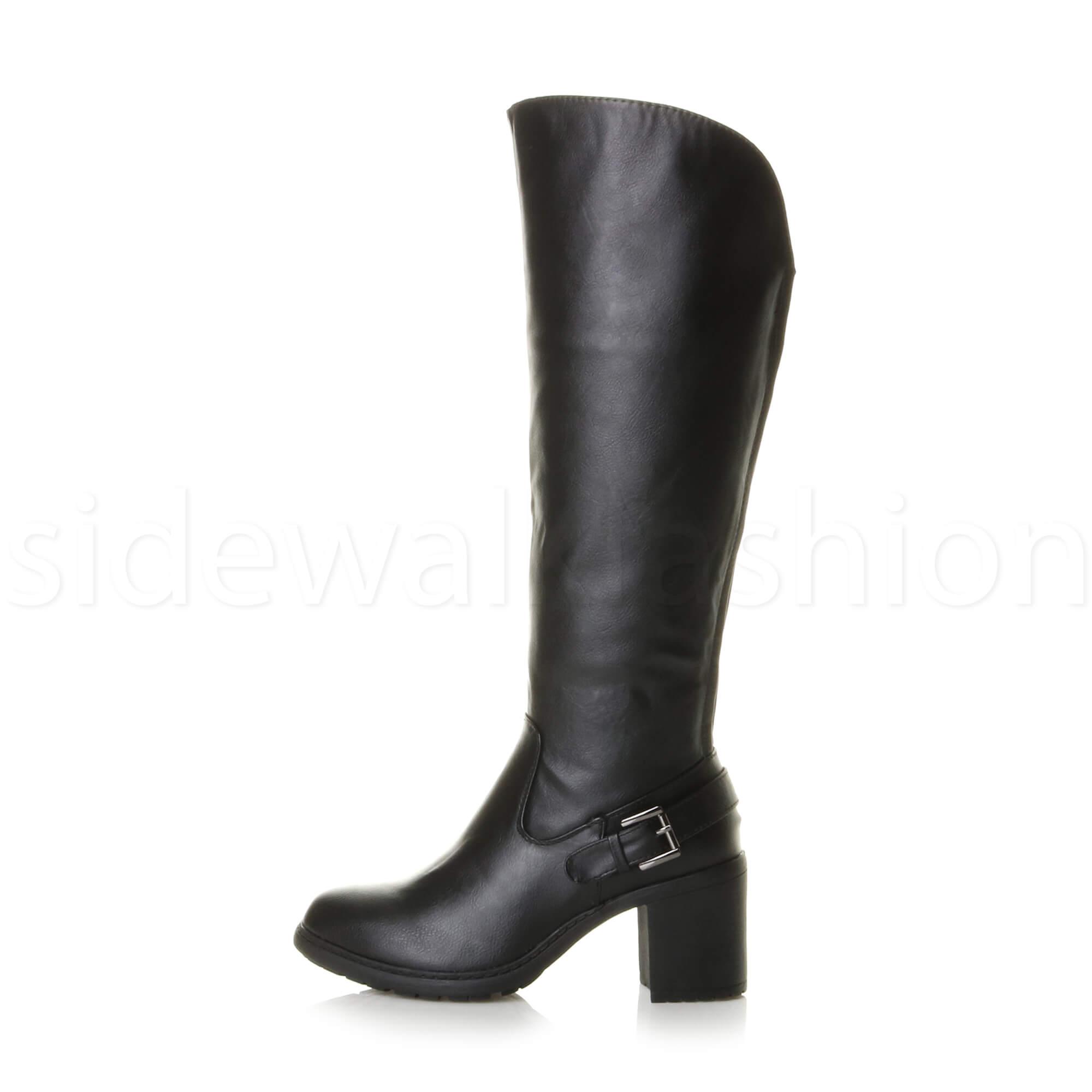 c33cbcc8098a Womens ladies block high heel wide calf zip stretch biker riding ...