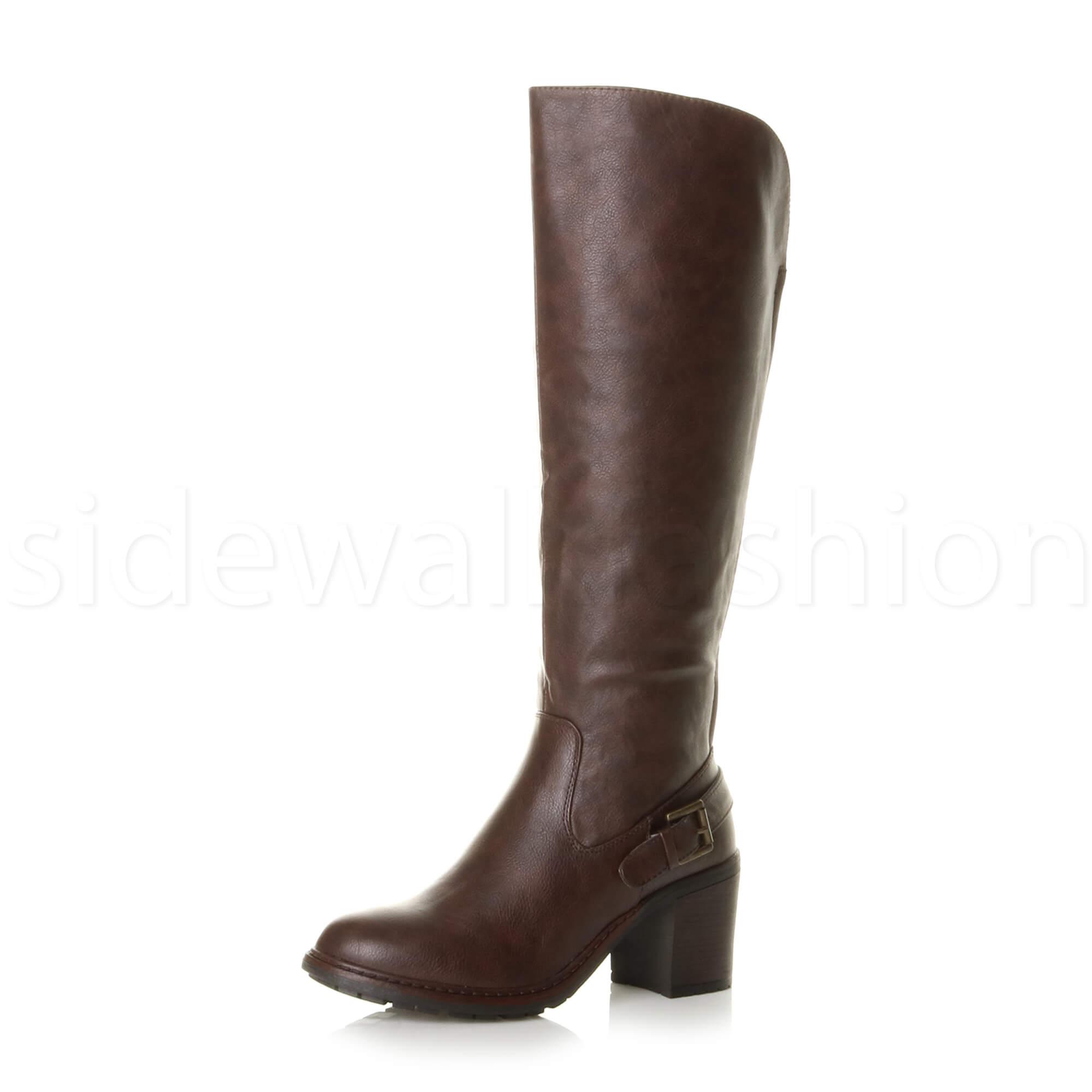 ebe95154bd9c Details about Womens ladies block high heel wide calf zip stretch biker  riding knee boots size
