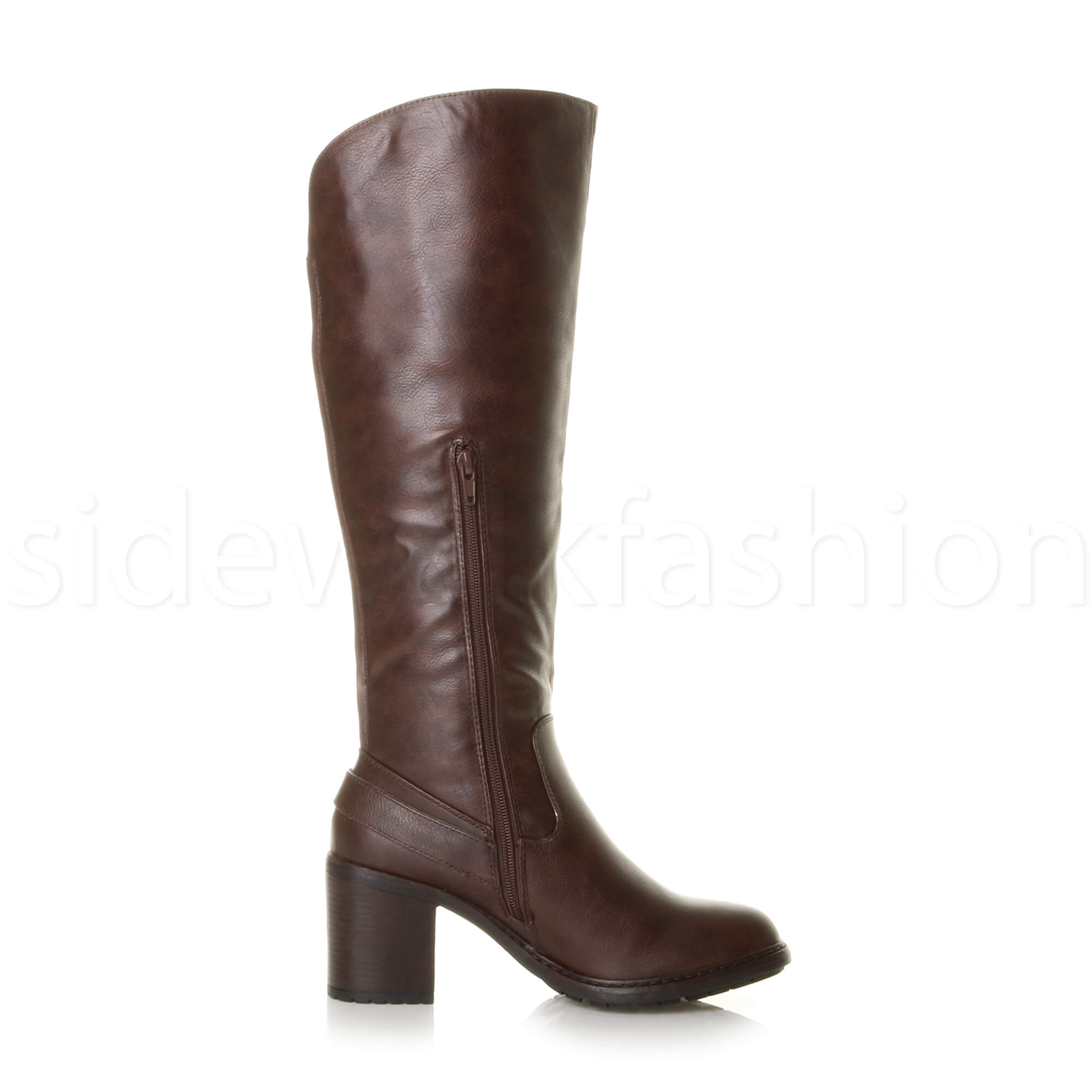 womens block high heel wide calf zip stretch biker