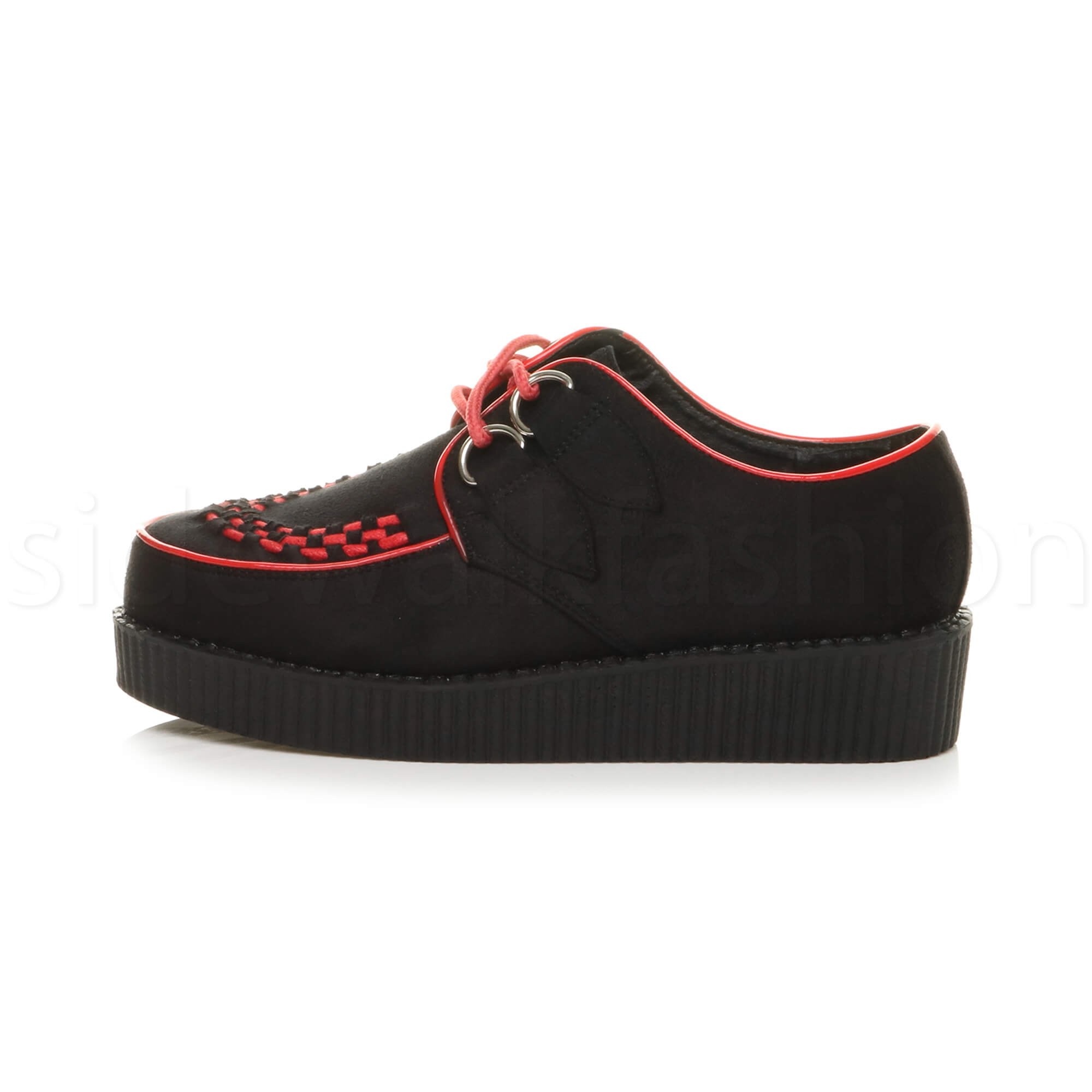 Womens-ladies-flat-platform-wedge-lace-up-goth-punk-creepers-shoes-boots-size miniatura 8
