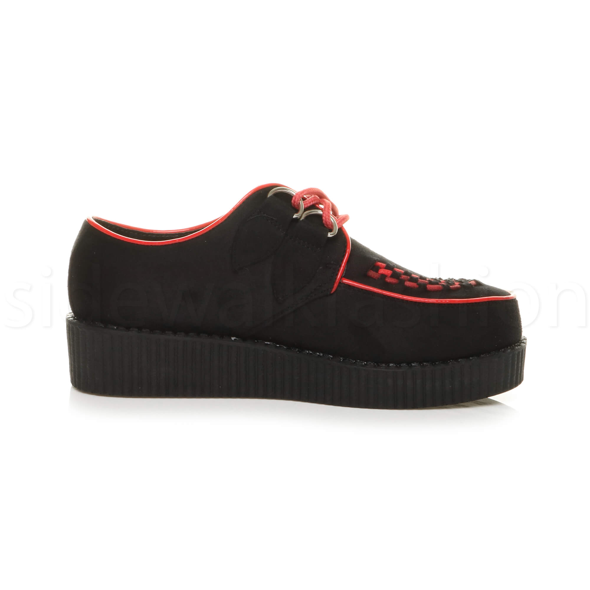 Womens-ladies-flat-platform-wedge-lace-up-goth-punk-creepers-shoes-boots-size miniatura 9