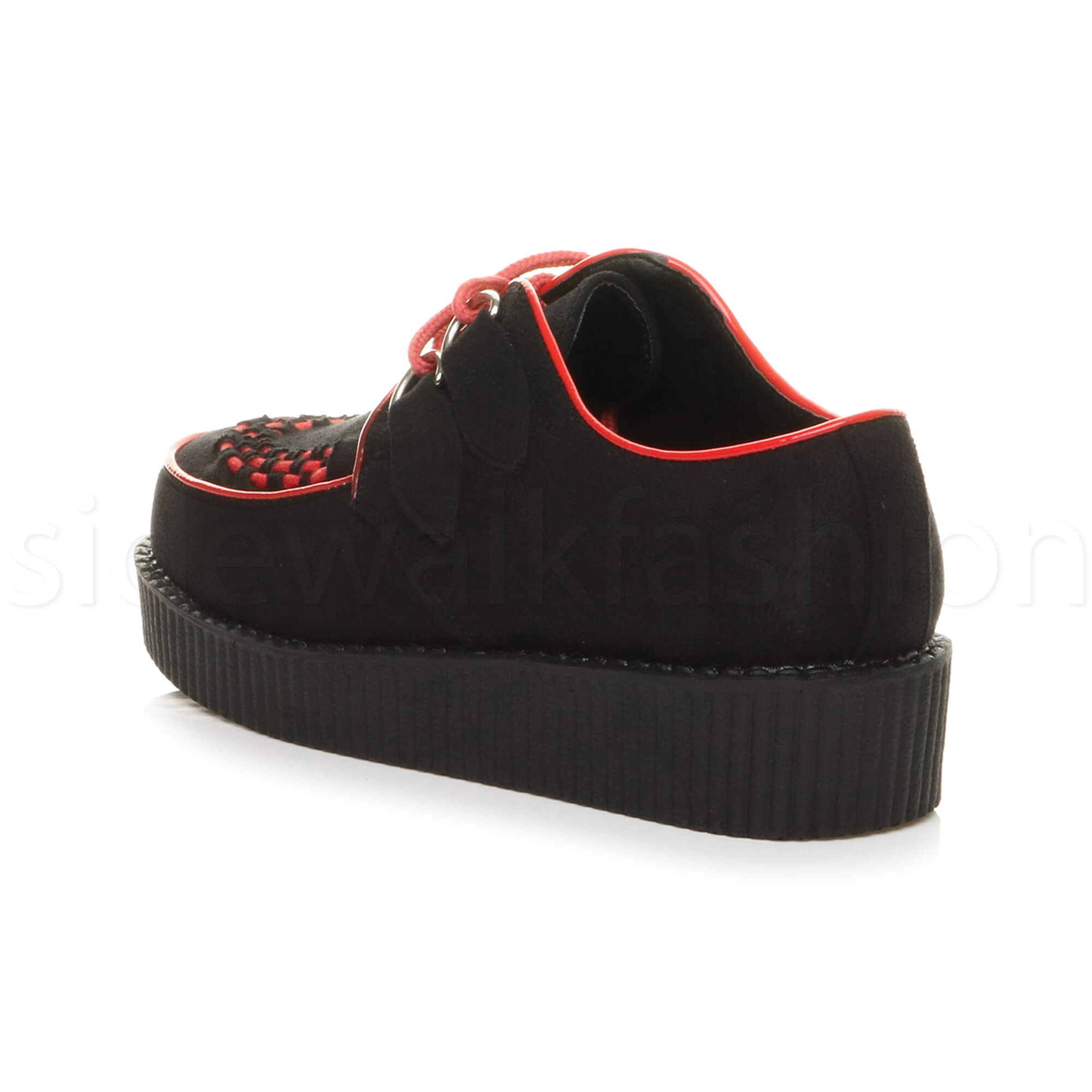 Womens-ladies-flat-platform-wedge-lace-up-goth-punk-creepers-shoes-boots-size miniatura 10