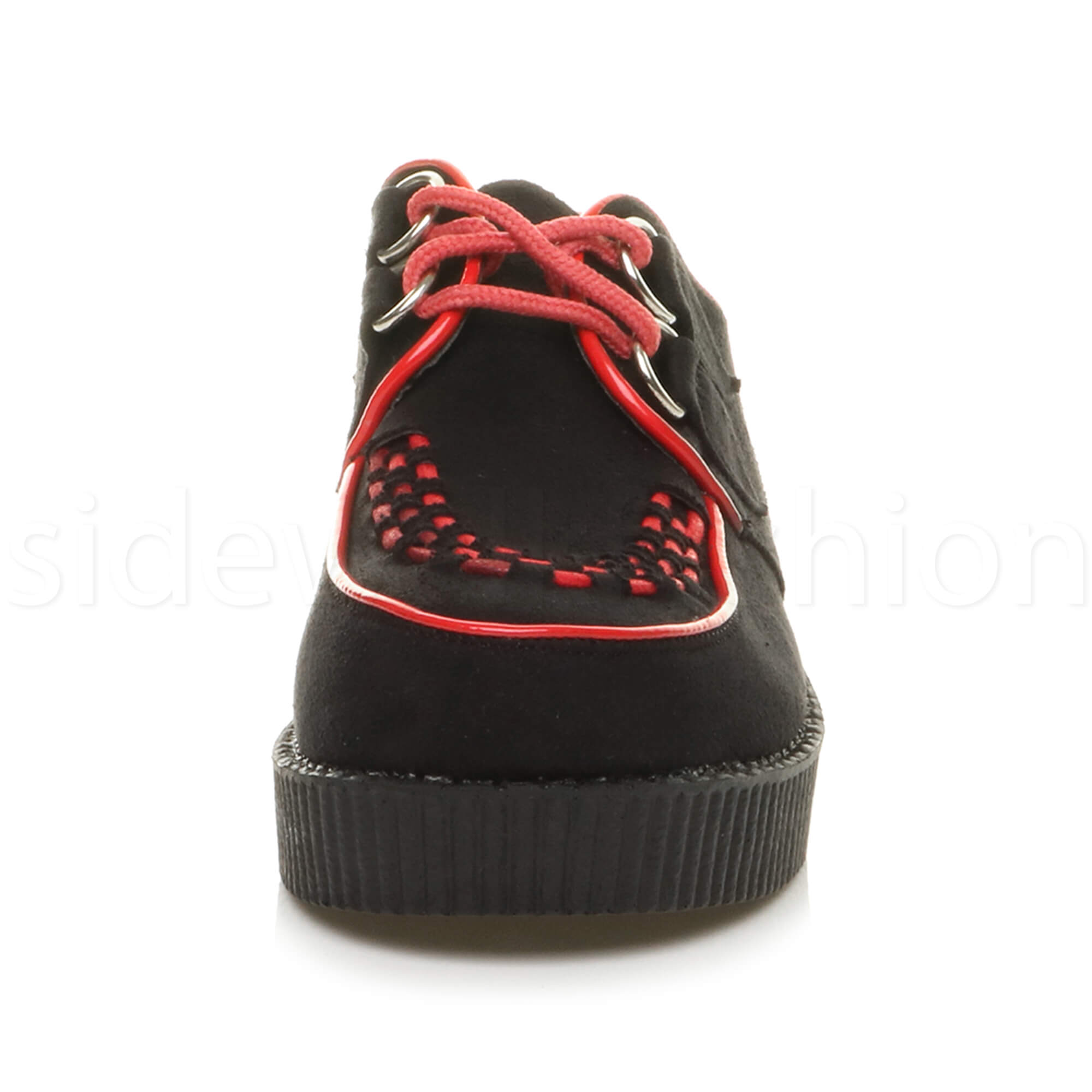 Womens-ladies-flat-platform-wedge-lace-up-goth-punk-creepers-shoes-boots-size miniatura 11