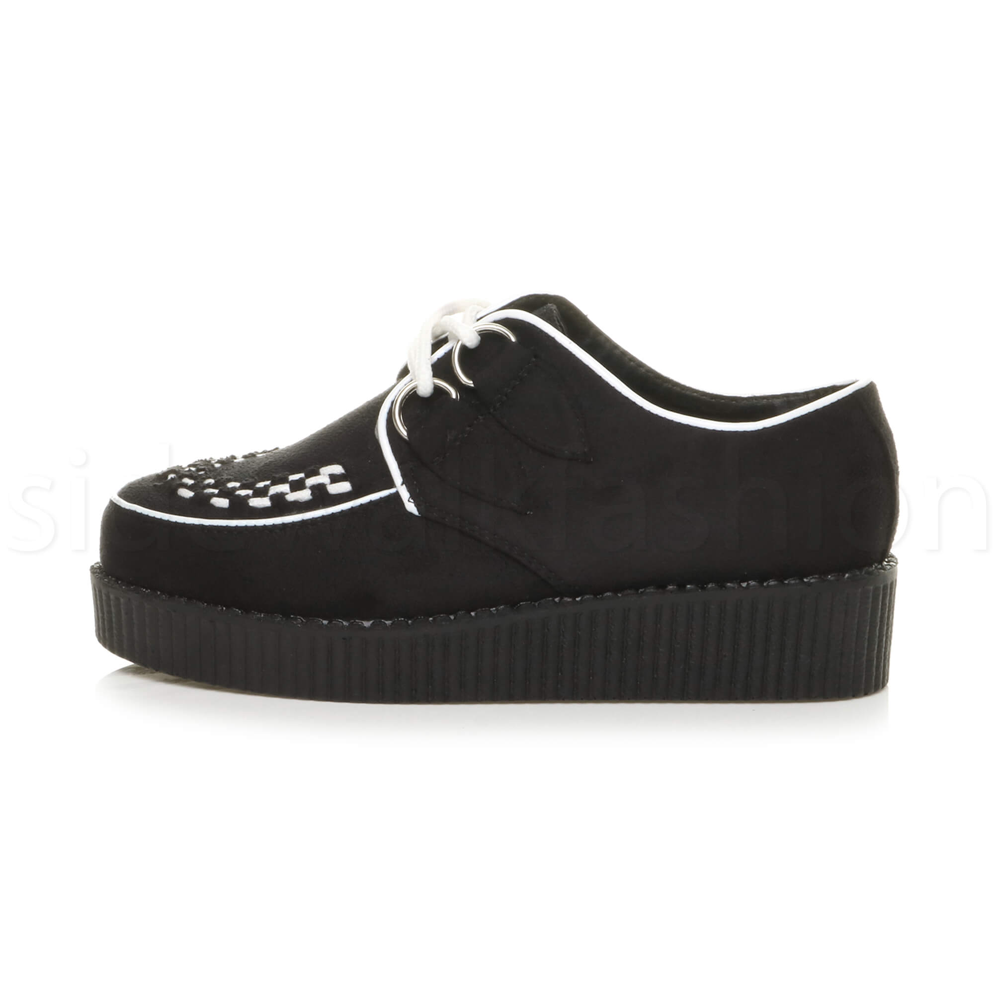 Womens-ladies-flat-platform-wedge-lace-up-goth-punk-creepers-shoes-boots-size miniatura 24