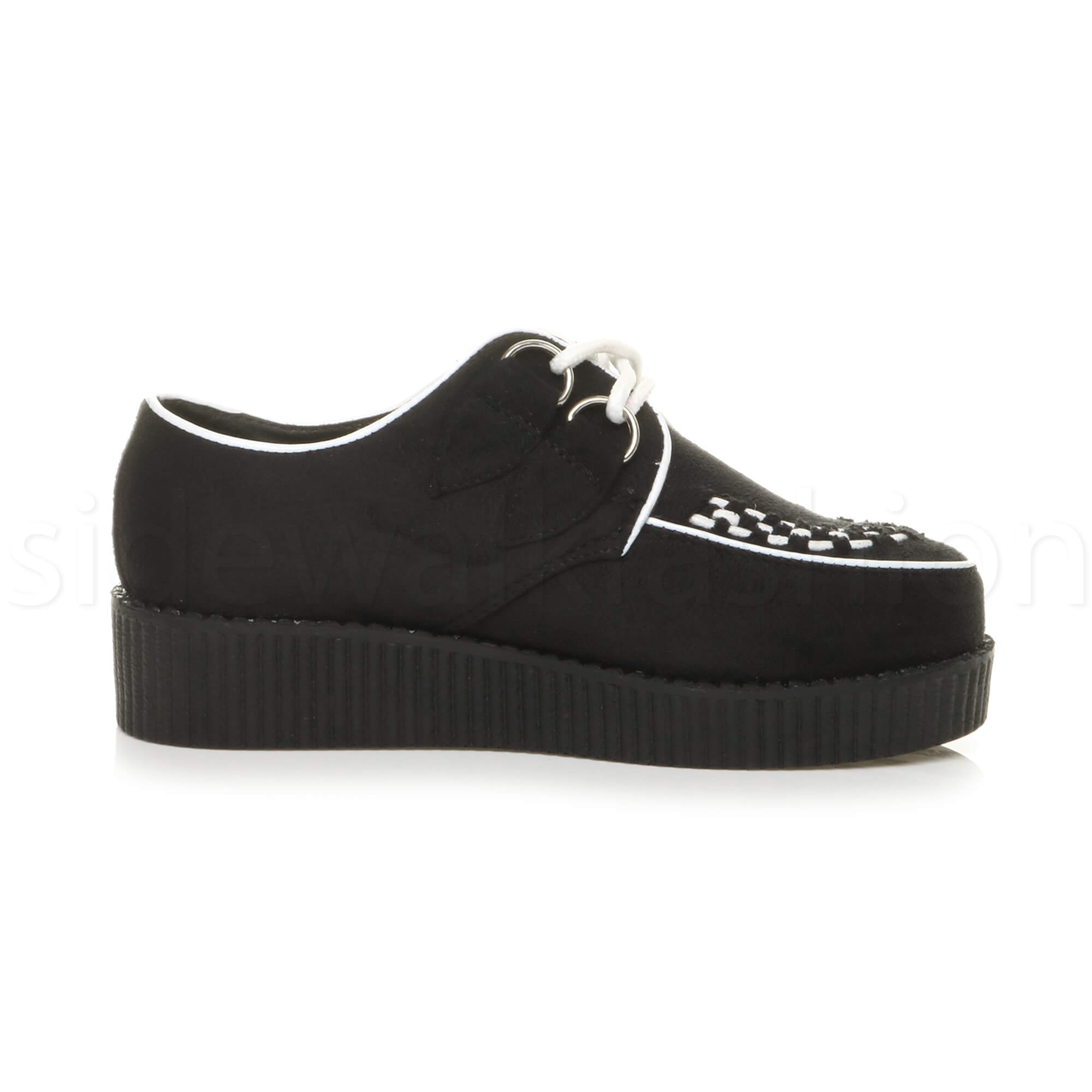 Womens-ladies-flat-platform-wedge-lace-up-goth-punk-creepers-shoes-boots-size miniatura 25