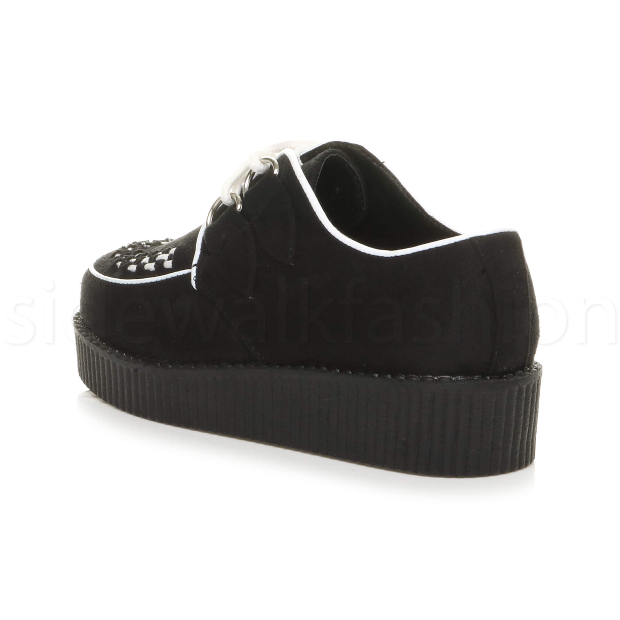 Womens-ladies-flat-platform-wedge-lace-up-goth-punk-creepers-shoes-boots-size miniatura 26