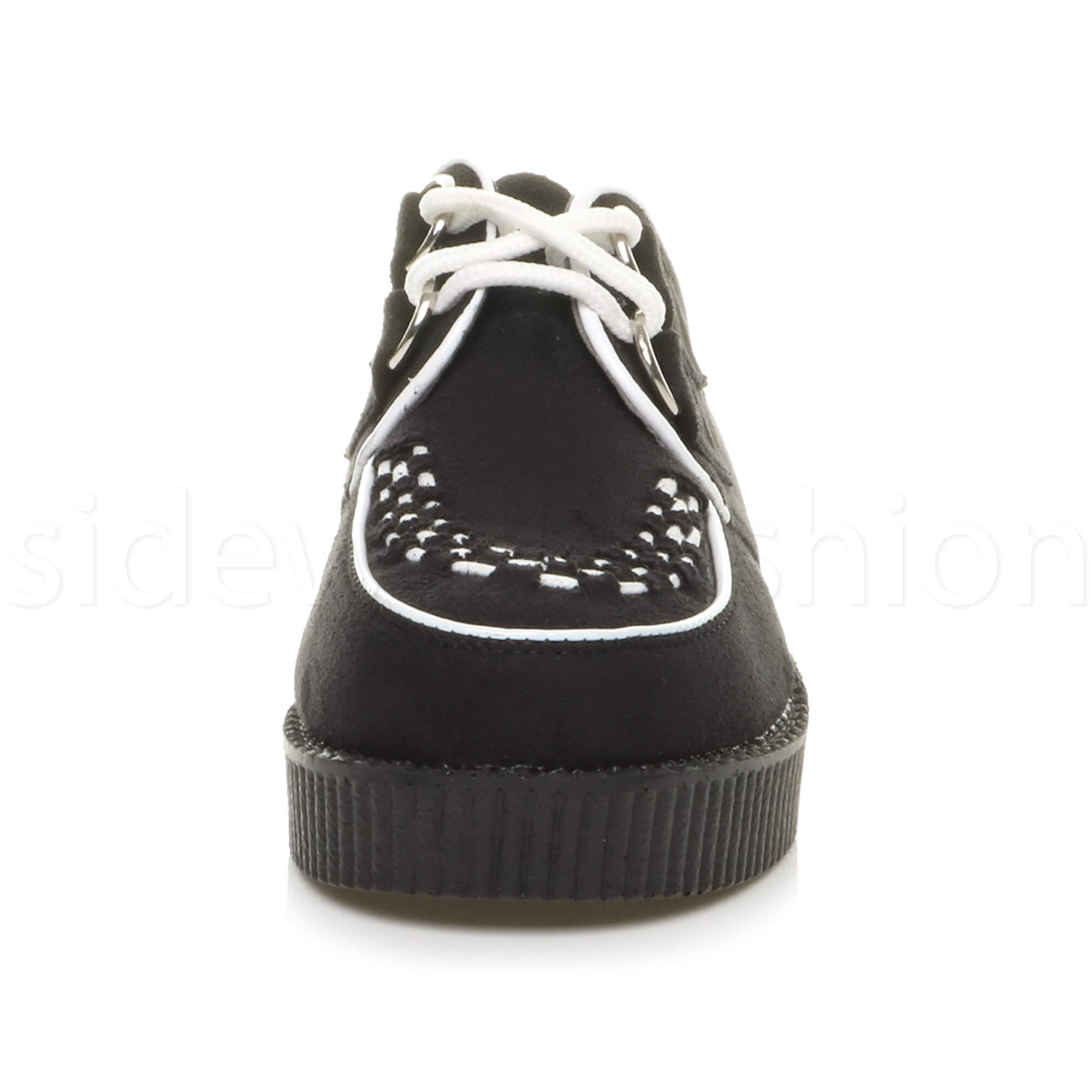 Womens-ladies-flat-platform-wedge-lace-up-goth-punk-creepers-shoes-boots-size miniatura 27