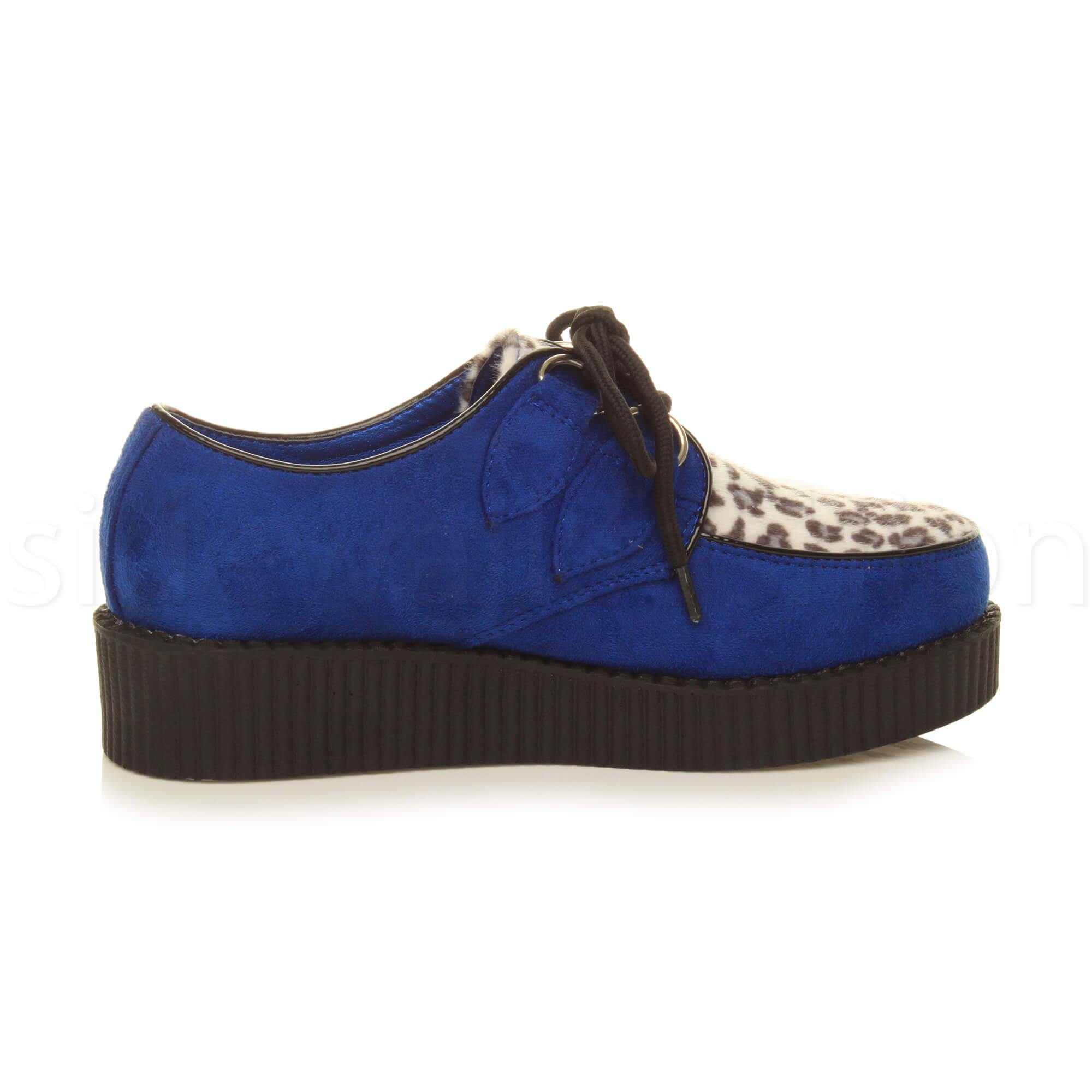 Womens-ladies-flat-platform-wedge-lace-up-goth-punk-creepers-shoes-boots-size miniatura 30