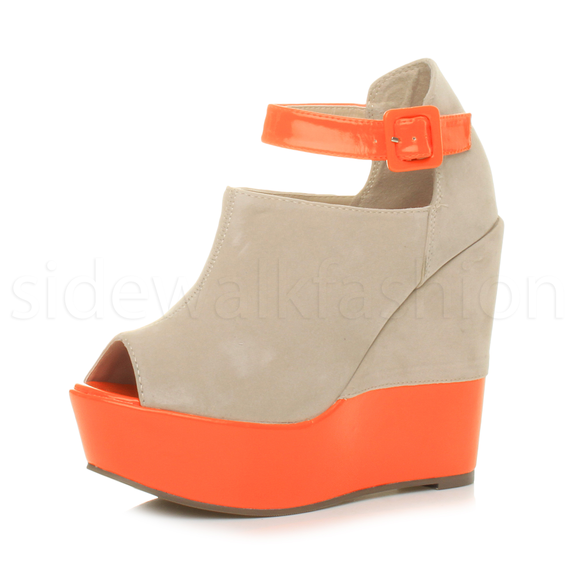 35c82a42bda Womens ladies high wedge heel buckle neon contrast peep toe platform ...