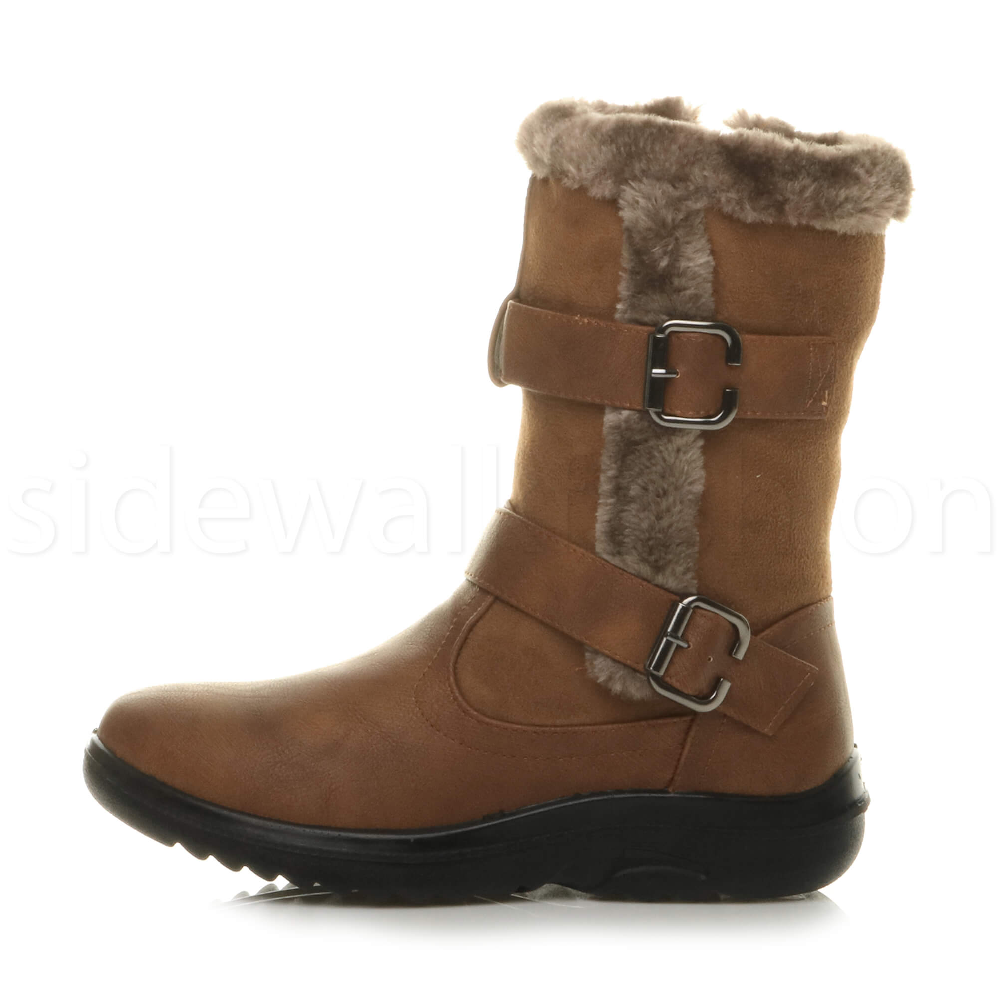 Womens-ladies-low-mid-wedge-heel-grip-sole-winter-fur-trim-comfort-ankle-boots