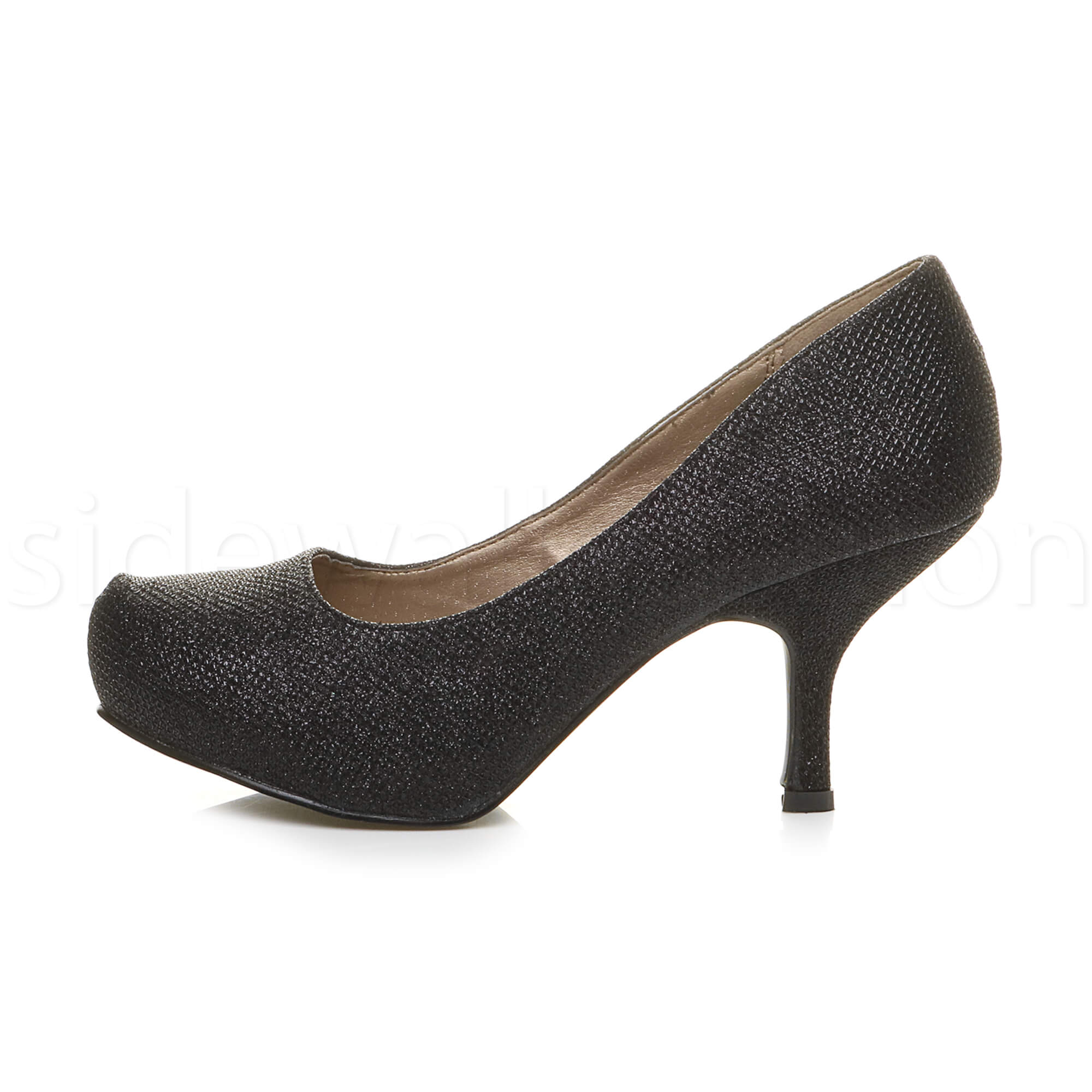 Womens-ladies-low-mid-heel-concealed-platform-work-party-court-shoes-pumps-size thumbnail 9