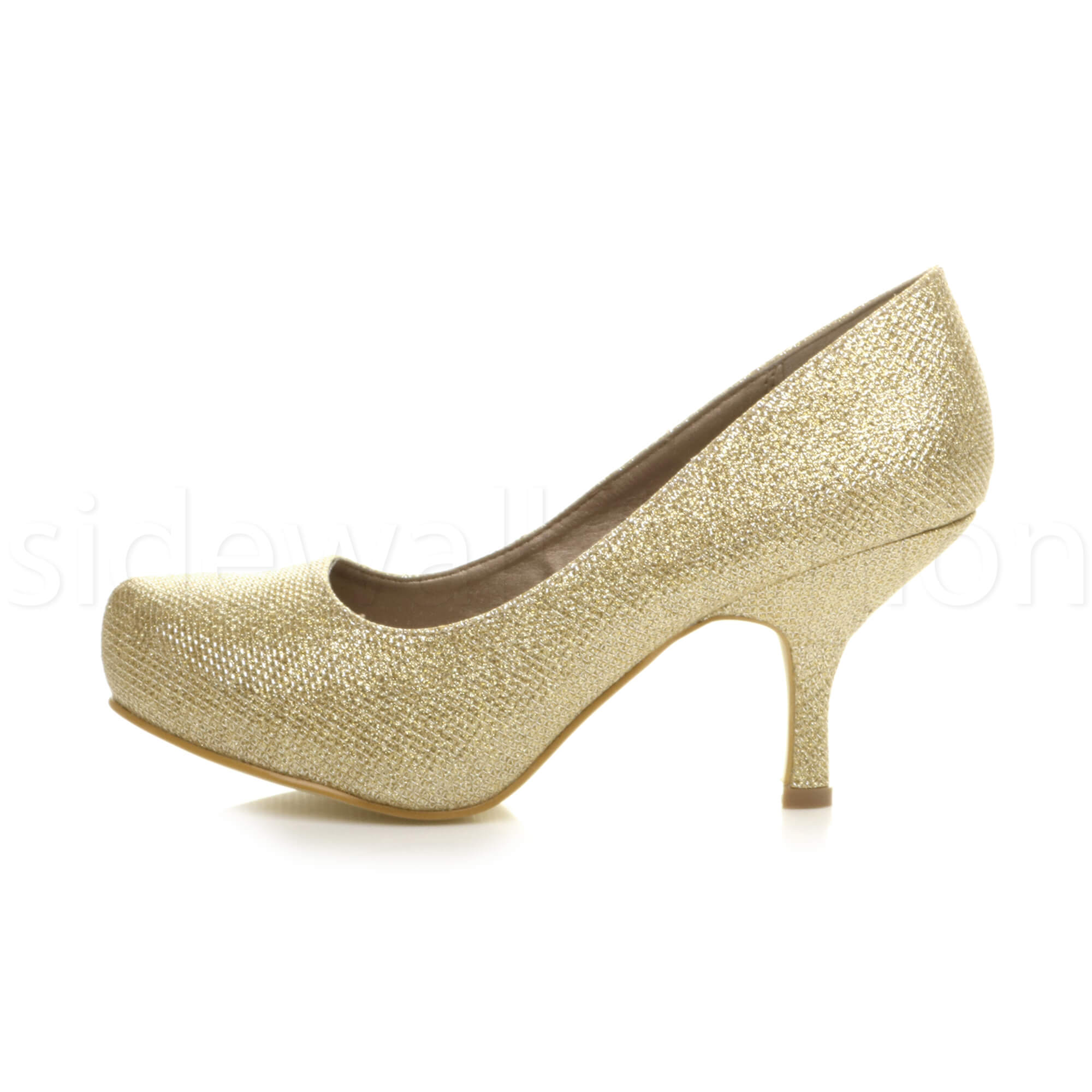 Womens-ladies-low-mid-heel-concealed-platform-work-party-court-shoes-pumps-size thumbnail 55