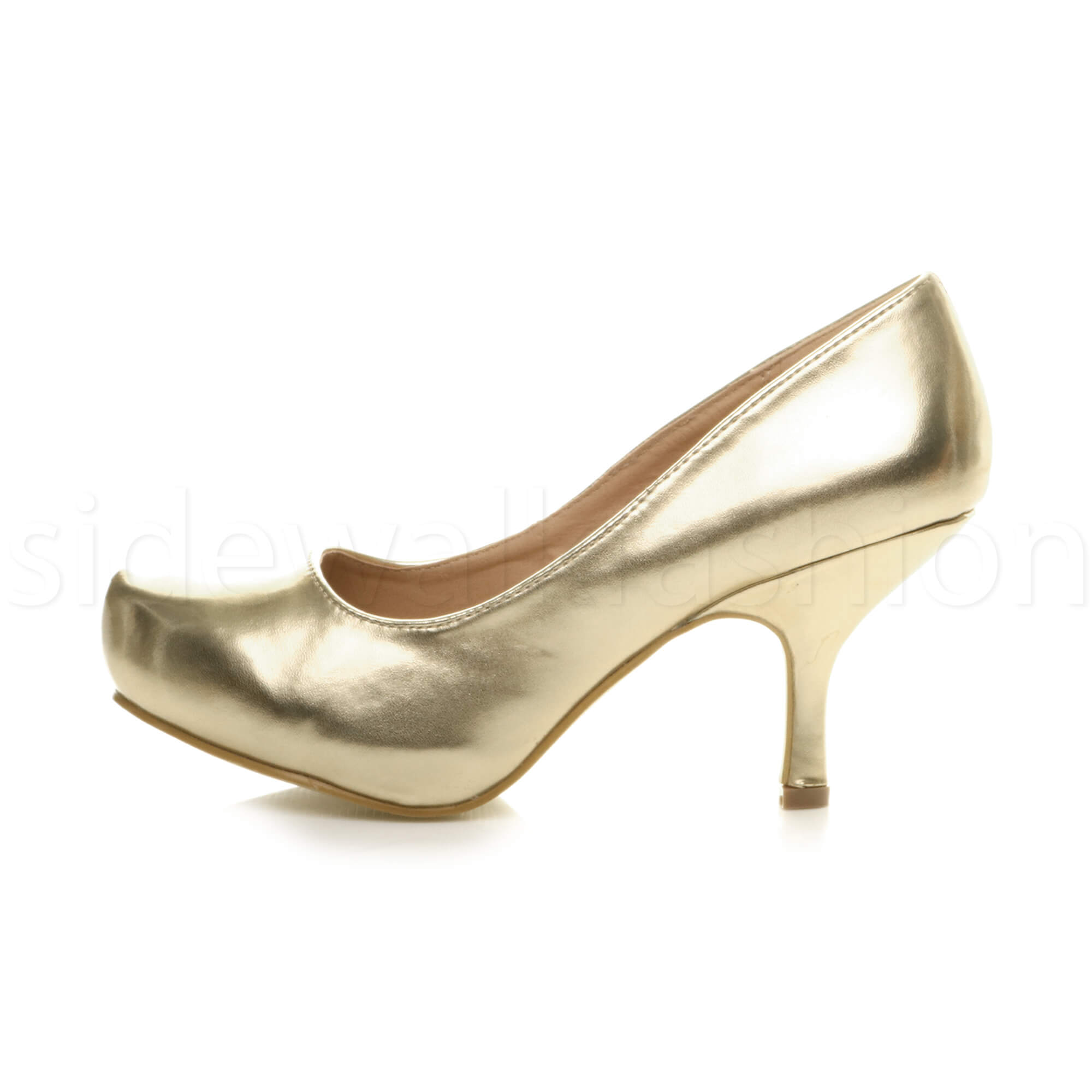 Womens-ladies-low-mid-heel-concealed-platform-work-party-court-shoes-pumps-size thumbnail 61