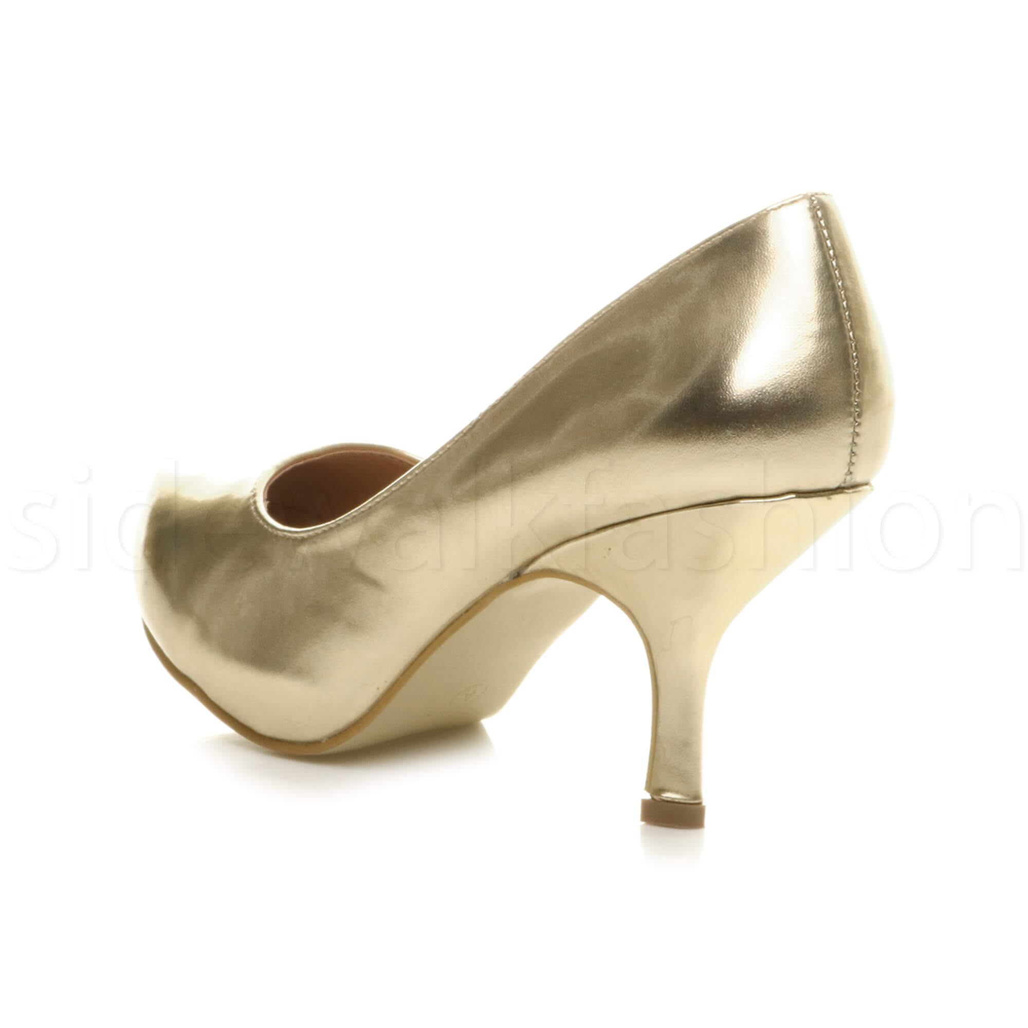Womens-ladies-low-mid-heel-concealed-platform-work-party-court-shoes-pumps-size thumbnail 63
