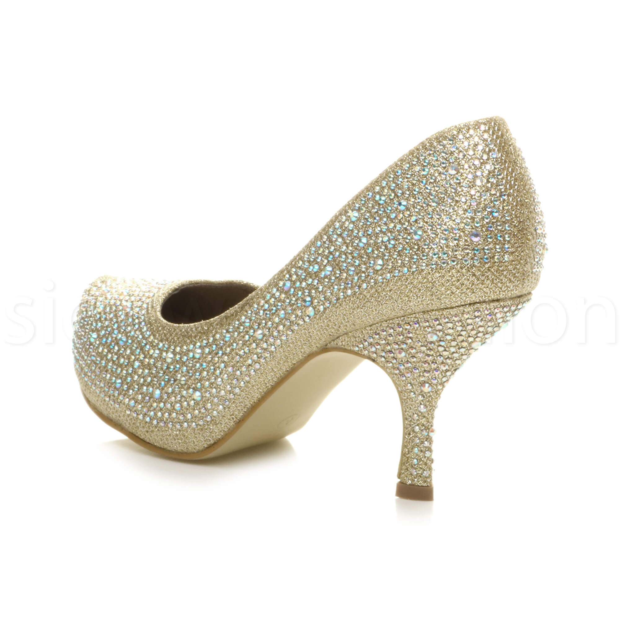 Womens-ladies-low-mid-heel-concealed-platform-work-party-court-shoes-pumps-size thumbnail 51