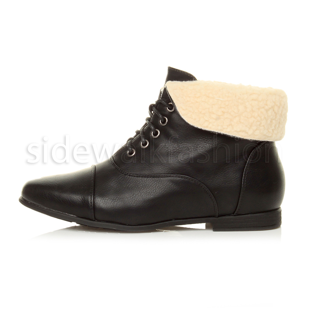 Womens-ladies-low-heel-flat-lace-up-fold-over-cuff-vintage-pixie-ankle-boots thumbnail 3