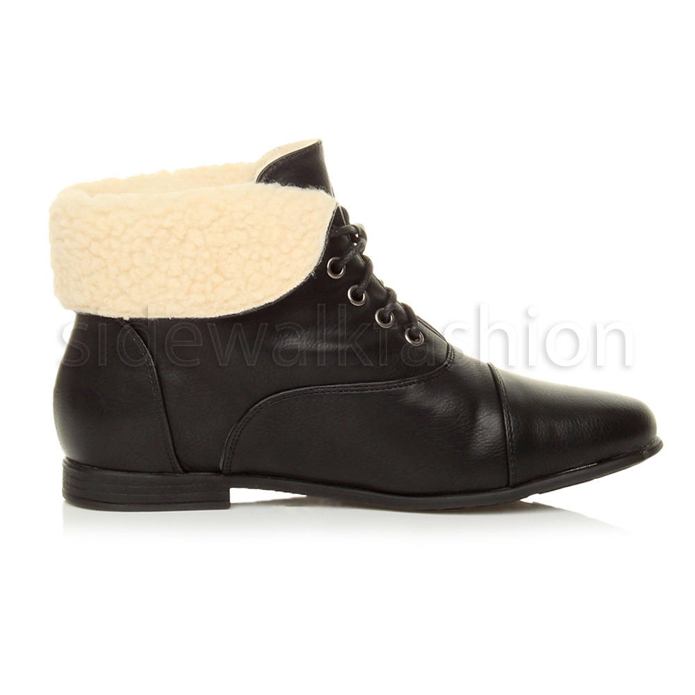 Womens-ladies-low-heel-flat-lace-up-fold-over-cuff-vintage-pixie-ankle-boots thumbnail 4