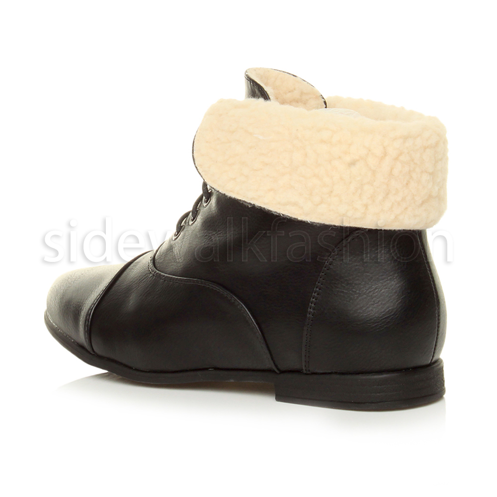 Womens-ladies-low-heel-flat-lace-up-fold-over-cuff-vintage-pixie-ankle-boots thumbnail 5