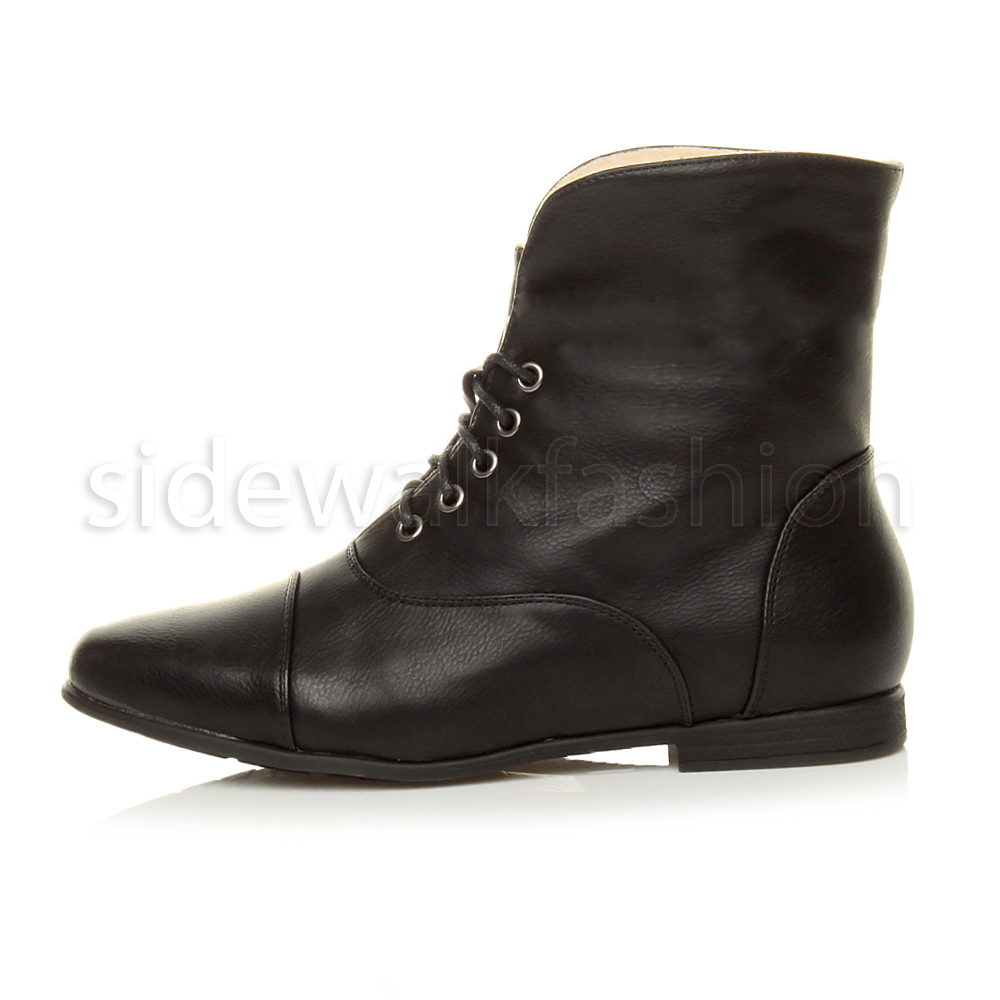 Womens-ladies-low-heel-flat-lace-up-fold-over-cuff-vintage-pixie-ankle-boots thumbnail 7