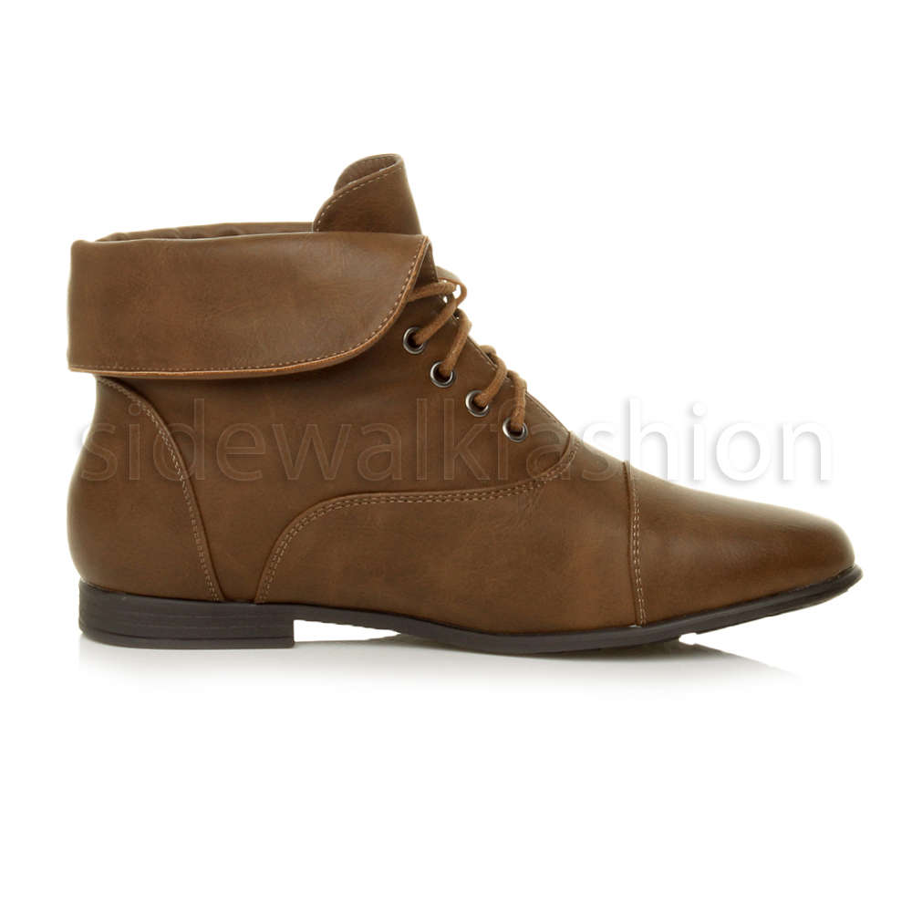 Womens-ladies-low-heel-flat-lace-up-fold-over-cuff-vintage-pixie-ankle-boots thumbnail 10