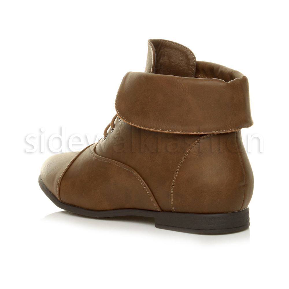 Womens-ladies-low-heel-flat-lace-up-fold-over-cuff-vintage-pixie-ankle-boots thumbnail 11
