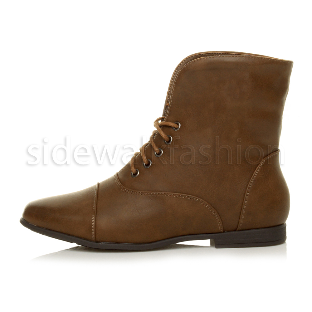 Womens-ladies-low-heel-flat-lace-up-fold-over-cuff-vintage-pixie-ankle-boots thumbnail 13